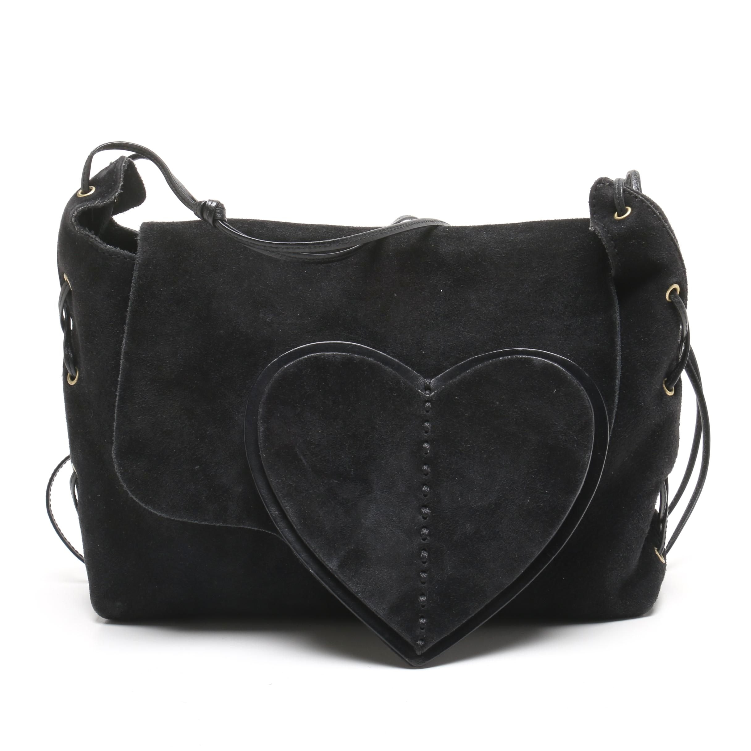 Gucci Black Suede Heart Shoulder Bag Designed by Tom Ford
