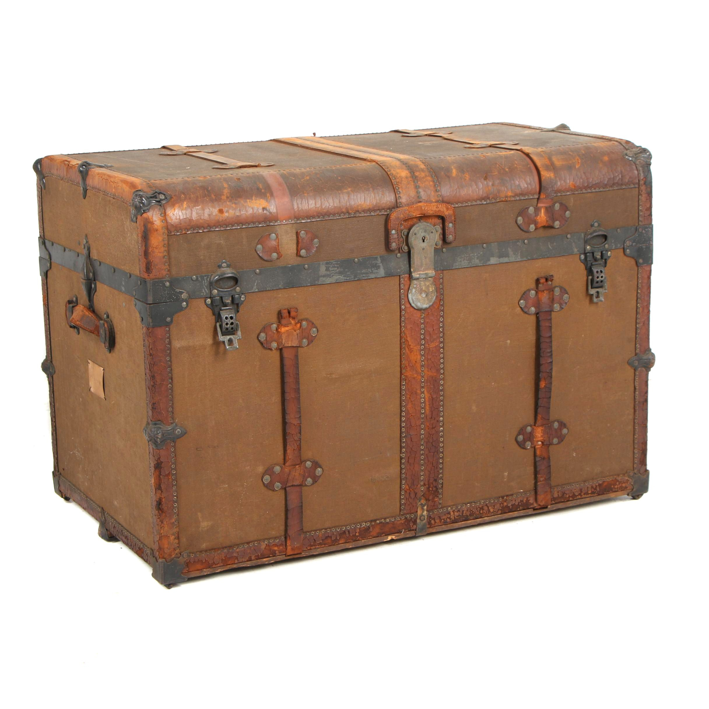 H.W. Rountree & Bro. Trunk & Bag Co. Wood and Metal Steamer Trunk, circa 1900