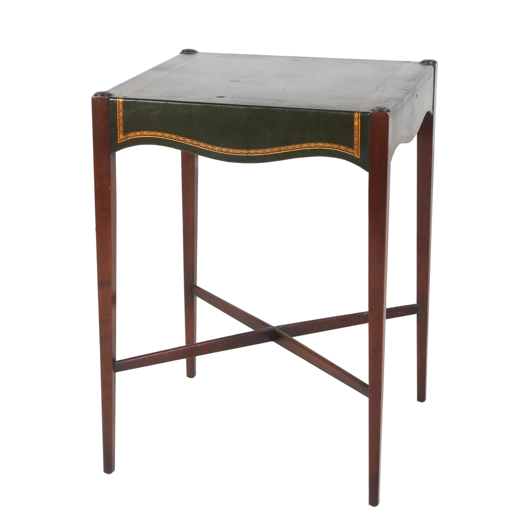 George III Style Cherrywood, Mahogany, and Leather Side Table by B. & S. Co.