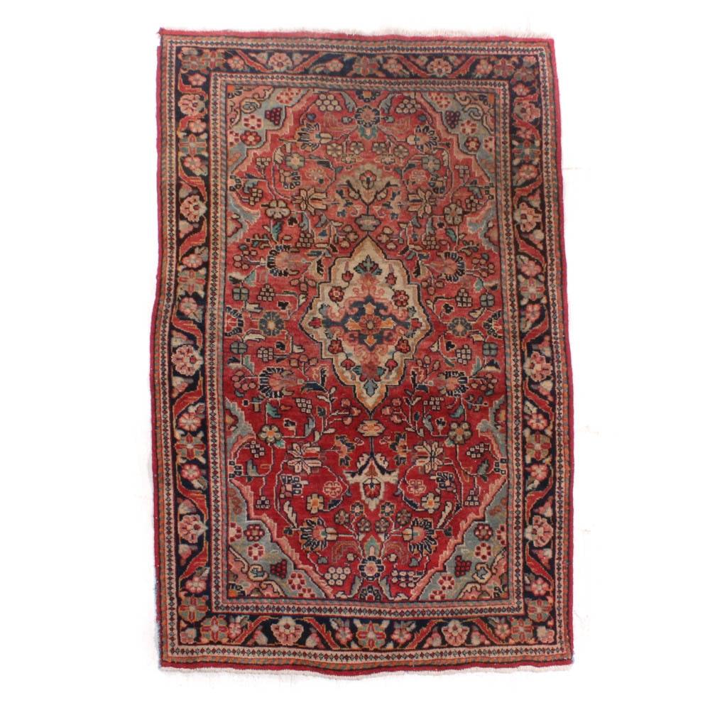 3'10 x 6'11 Hand-Knotted Persian Sarouk Rug, circa 1930