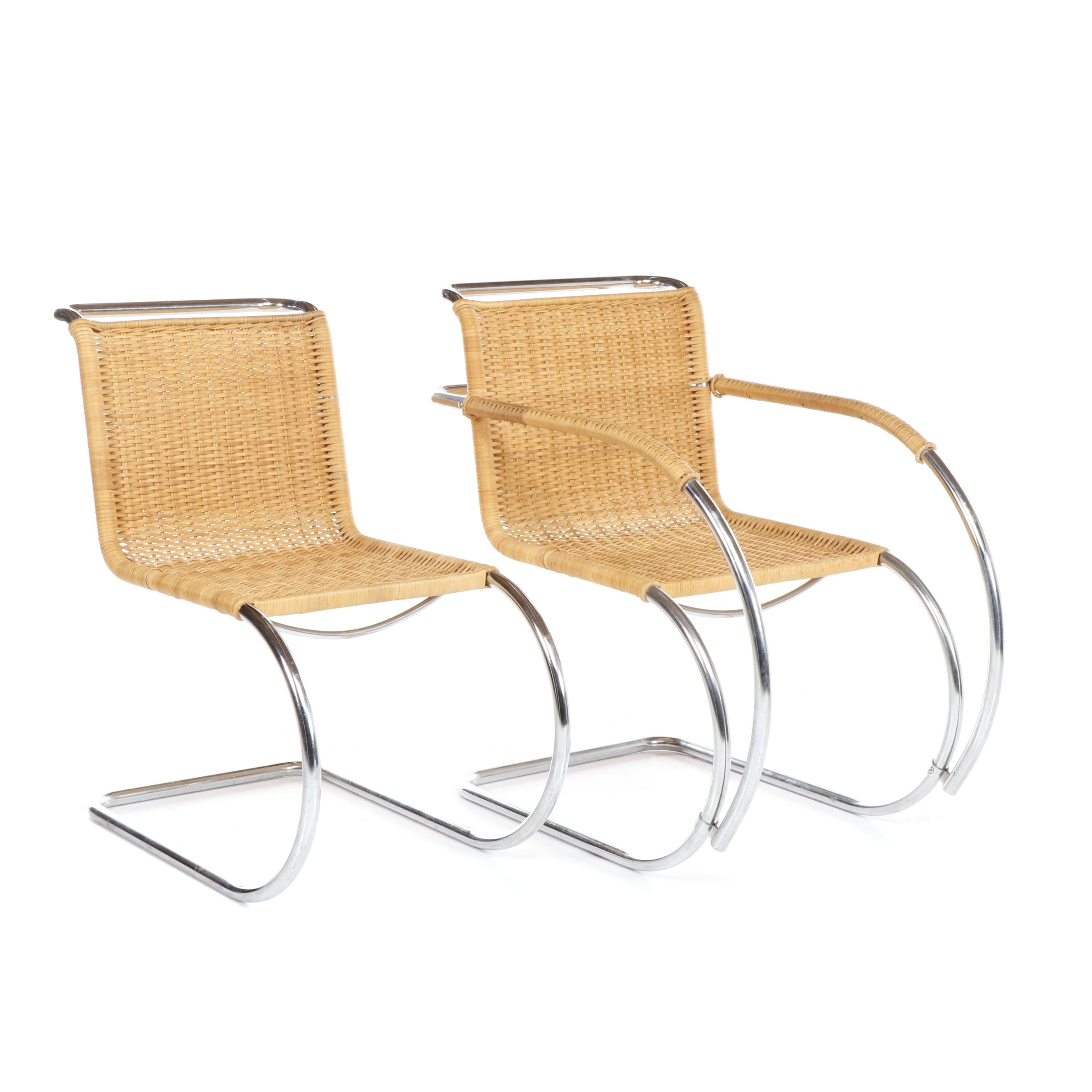 Bauhaus Style Cantilever Cane Chair and Armchair After Mies van der Rohe