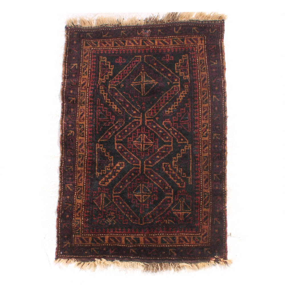2'3 x 3'8 Hand-Knotted Persian Baluch Rug, circa 1920