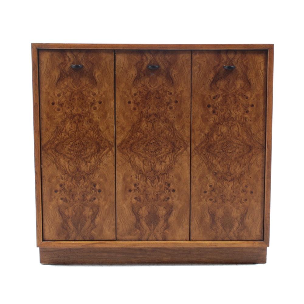 Drexel Precedent Burlwood Cabinet by Edward Wormley, 1940s Design