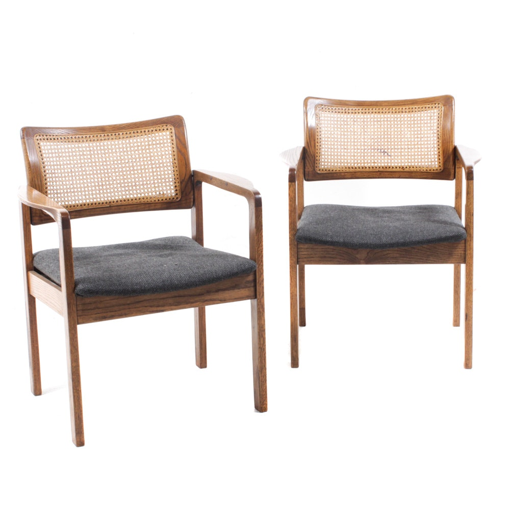 Cane Back Armchairs Attributed to Arthur Umanoff