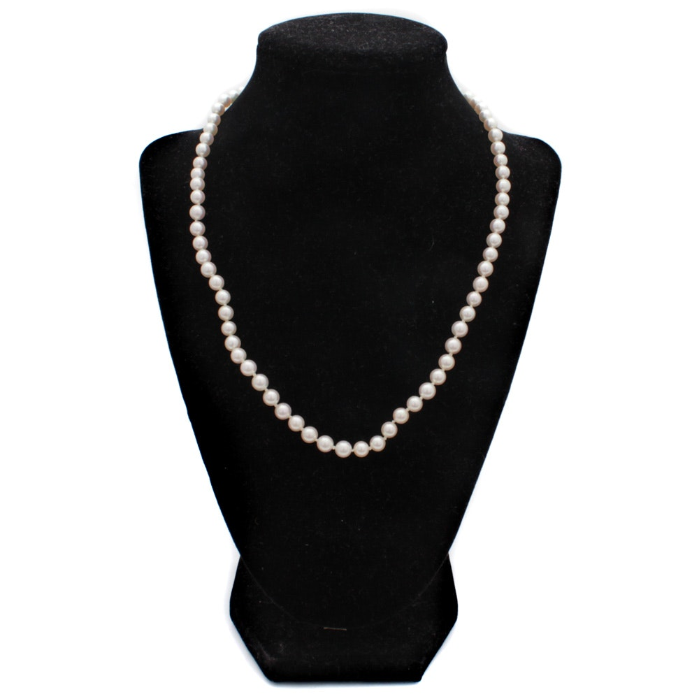 14K Yellow Gold Cultured Pearls and Diamond Necklace