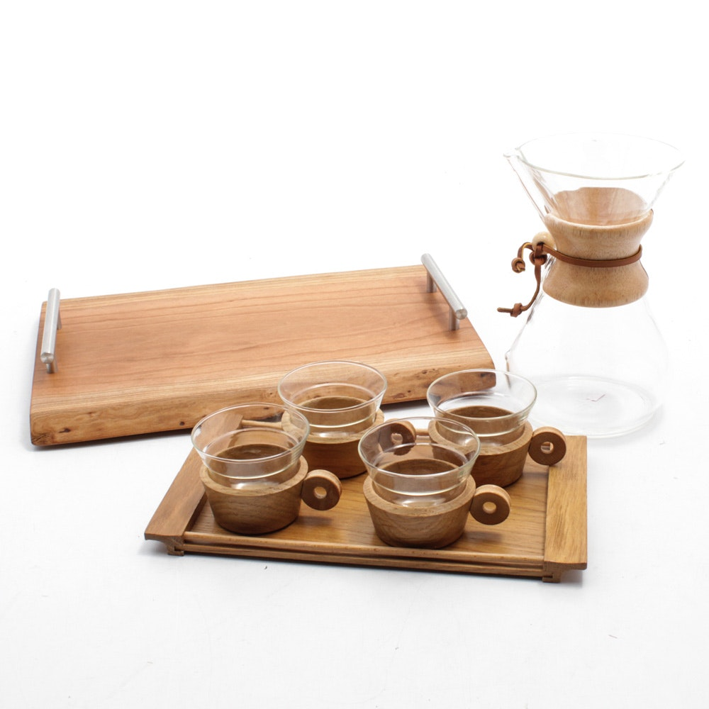 Chemex Coffee Carafe, Mugs and Serving Tray