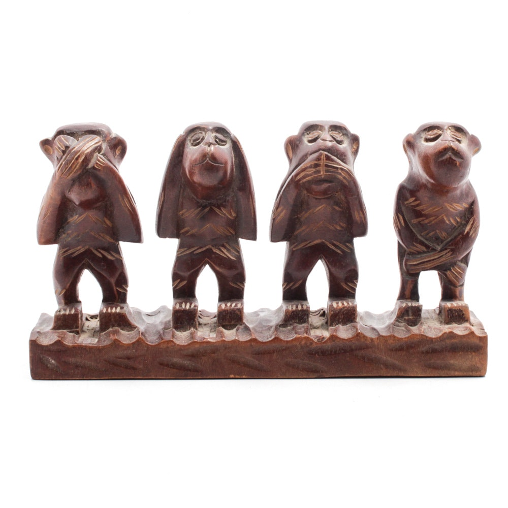 "Randy Comstock Wood Sculpture ""Hear, Speak, See and Do No Evil"""