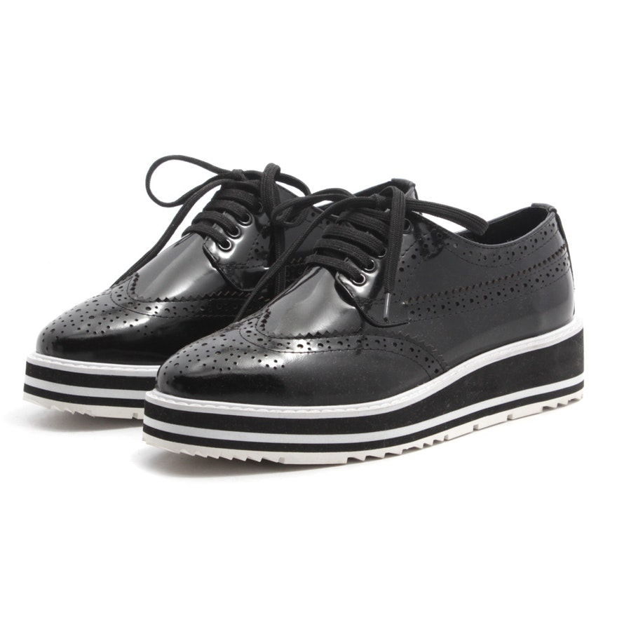 d8c99f34b649 Prada Wingtip Black Leather Platform Brogue Shoes   EBTH