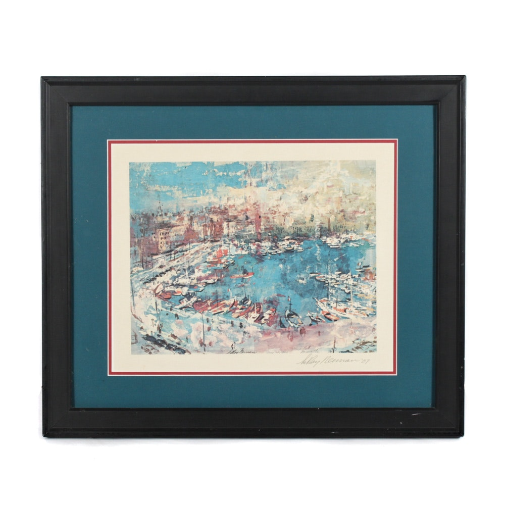"""Offset Lithograph after Leroy Newman """"View of Port Marseille"""""""