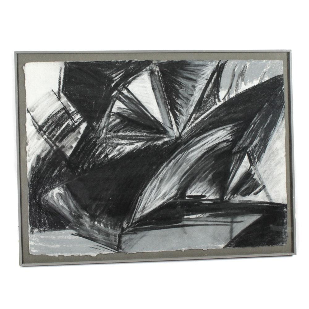"""Jeanne Fryer Kohles Charcoal Drawing """"Unstill Still-Life"""""""