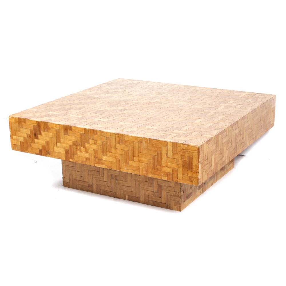 Floating Cube Parquet Wood Coffee Table Attributed to Thayer Coggin, Mid Century