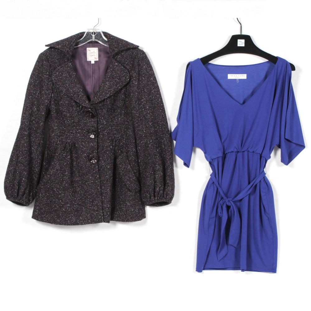 Nanette Lepore Button-Front Jacket and Trina Turk Dress with Sash Belt