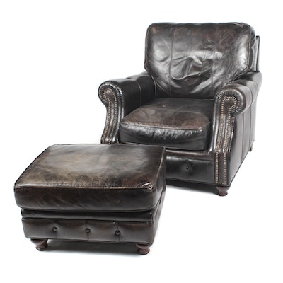 Groovy Decoro Brown Leather Armchair And Ottoman Ebth Unemploymentrelief Wooden Chair Designs For Living Room Unemploymentrelieforg