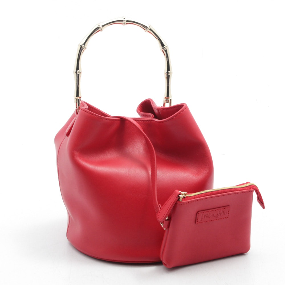 J. McLaughlin Red Leather Bucket Bag with Gold Tone Bamboo Handle