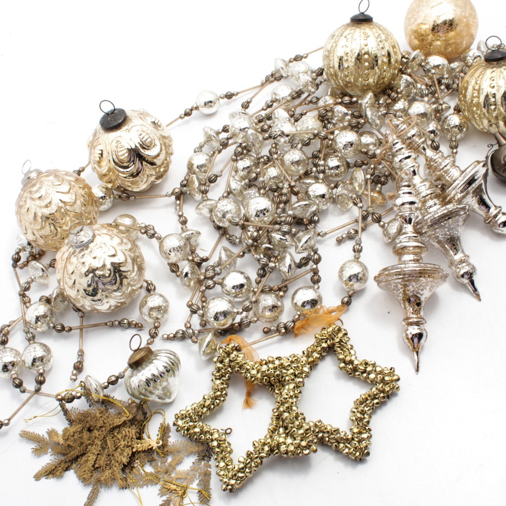 Silver Tone, Mirrored and Glass Ornaments