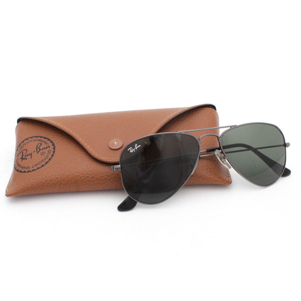 Ray-Ban Small Aviator Sunglasses with Case, Made in Italy