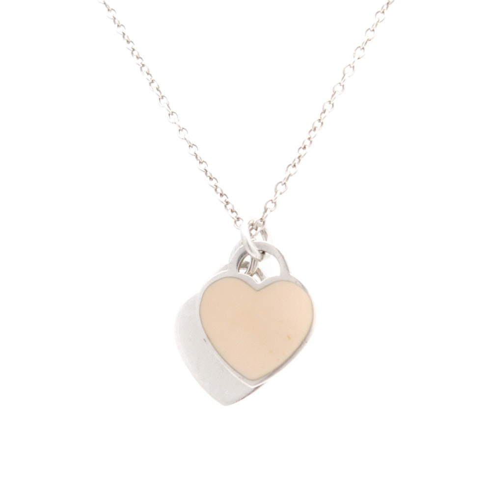 Tiffany & Co. Sterling Silver Enamel Heart Necklace