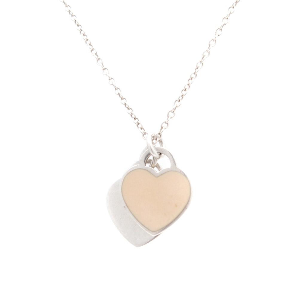 Tiffany & Co. Sterling Silver Enamel Heart Necklace