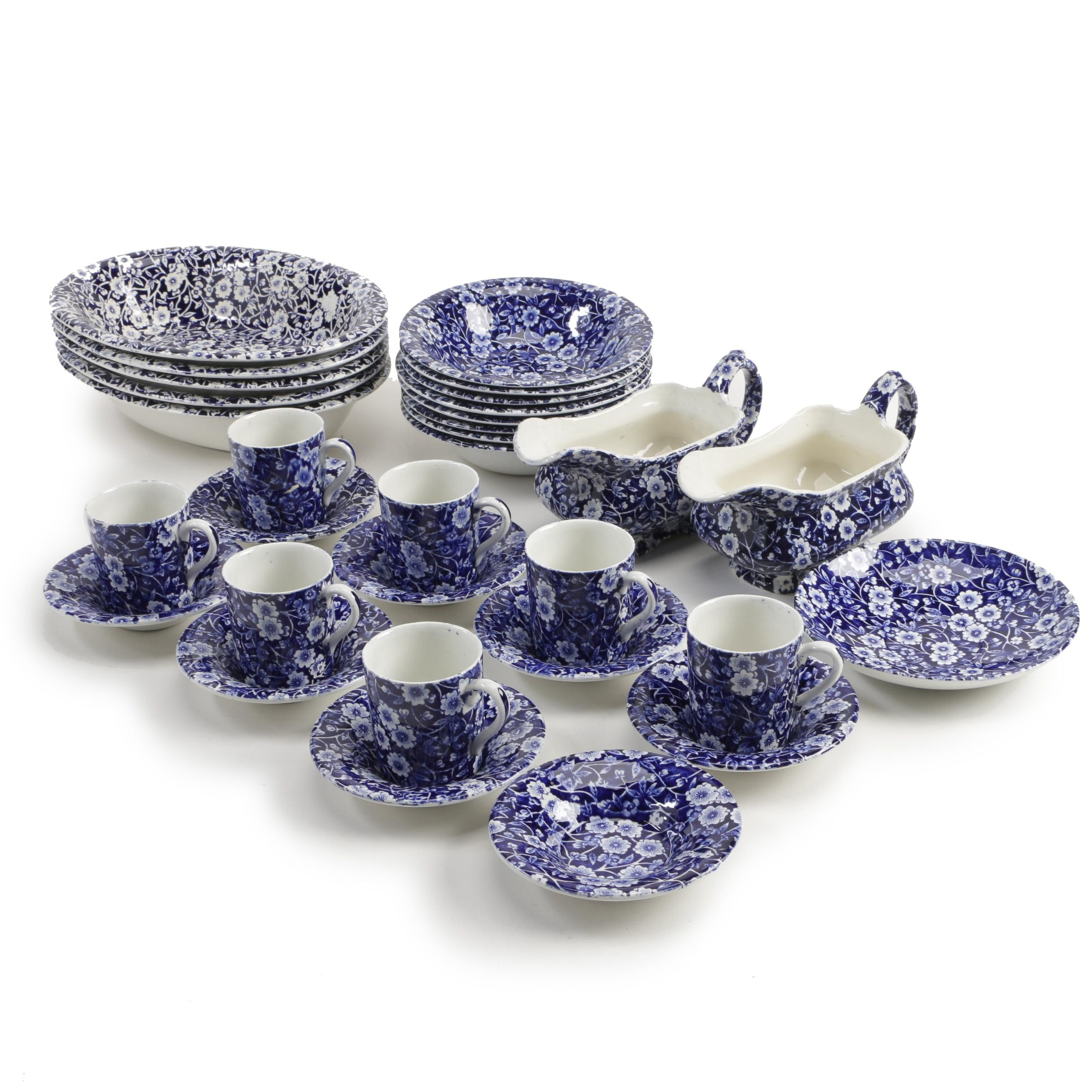 "Crownford Staffordshire ""Calico Blue"" Ironstone Dinnerware and Serving Dishes"