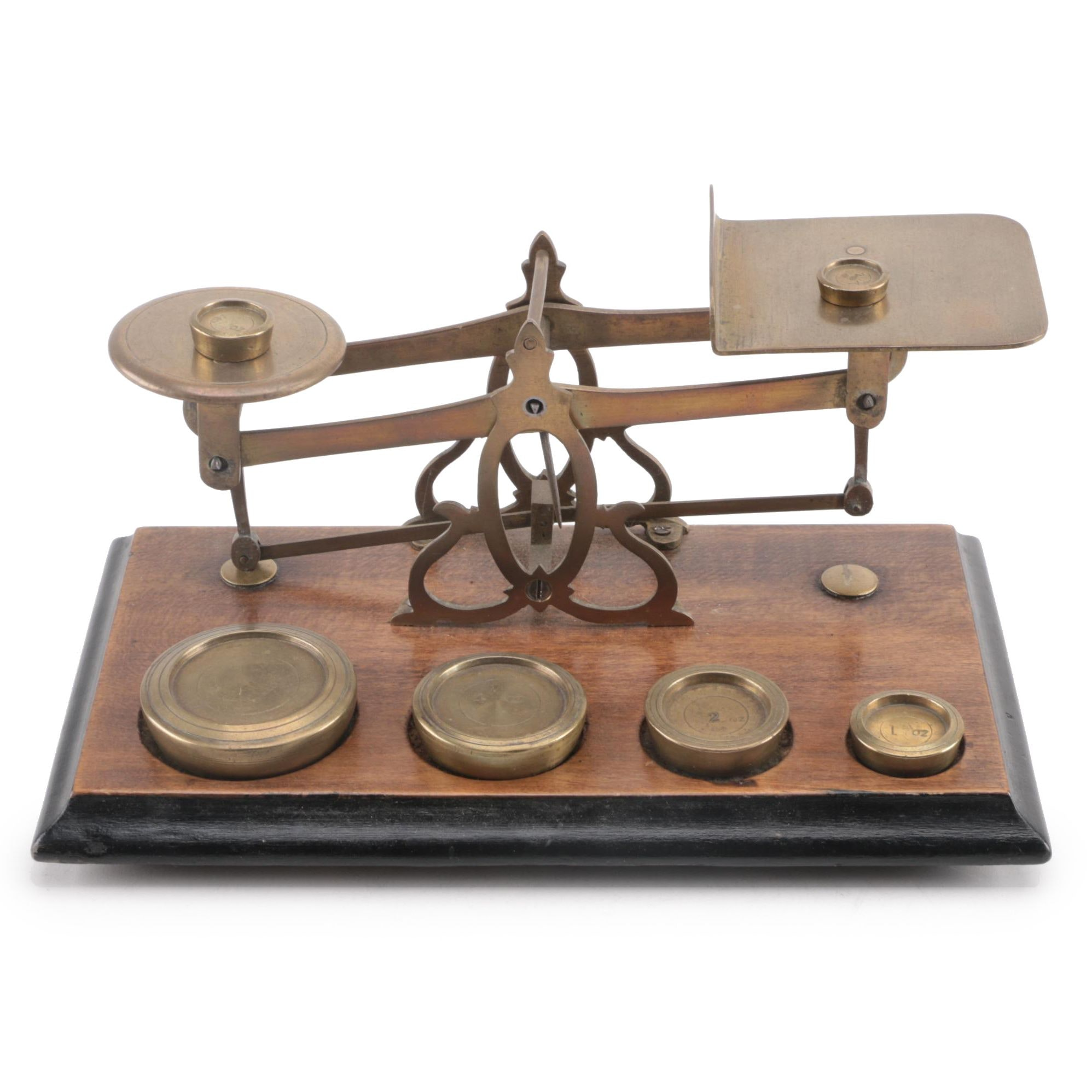 Oak and Brass Postal Scale, Late 19th/ Early 20th Century