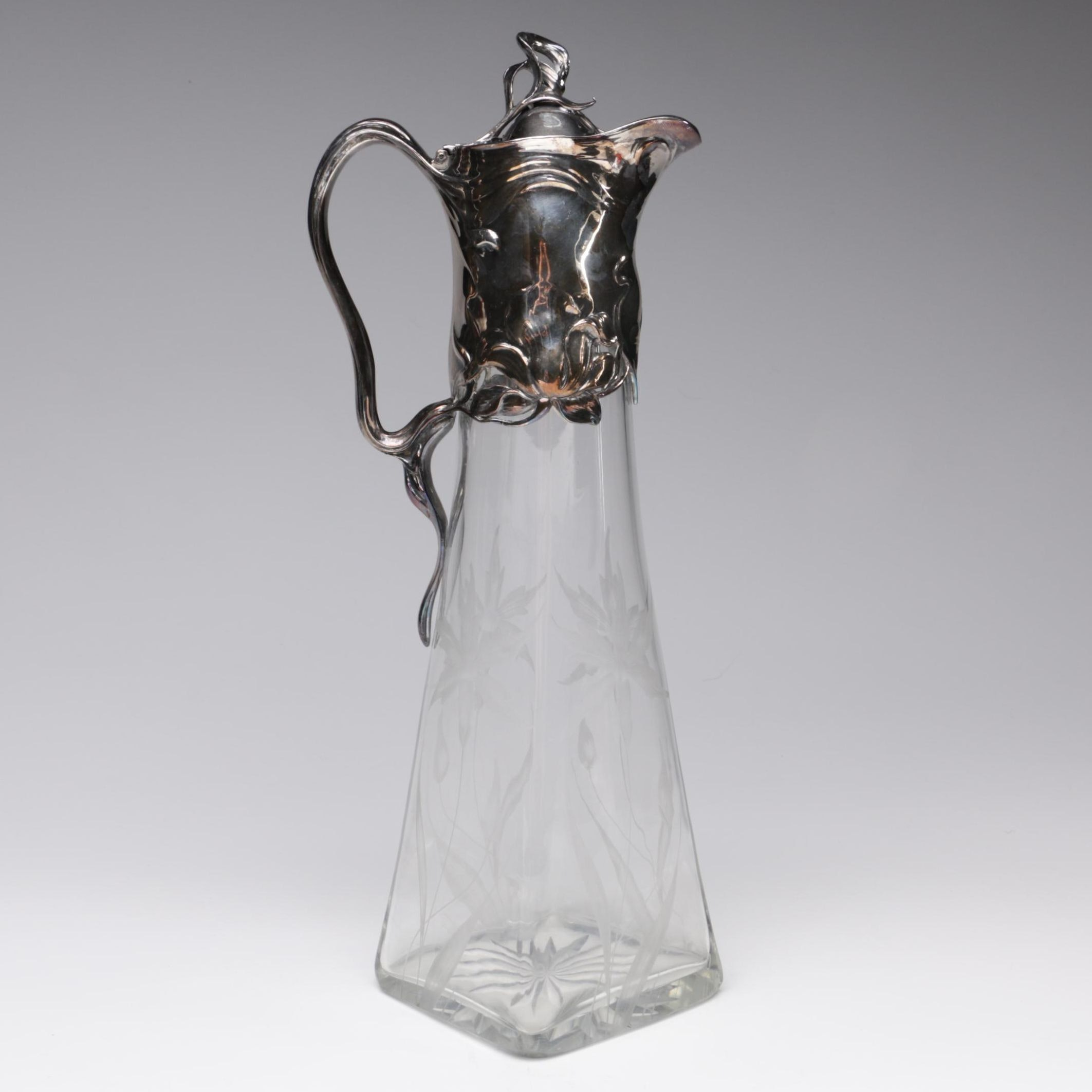 Art Nouveau Silver Plate and Etched Glass Claret Jug, Early 20th Century