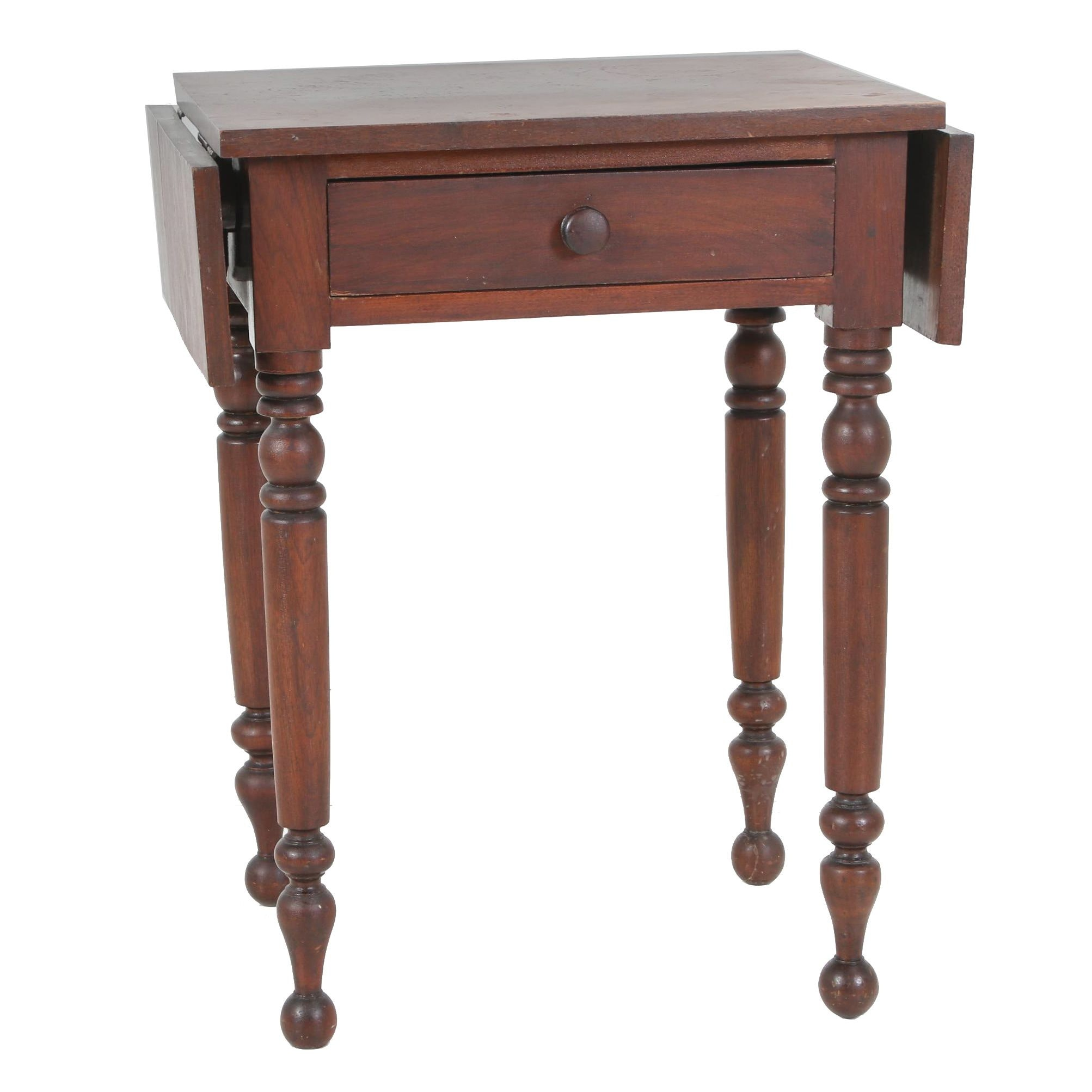 American Mahogany One-Drawer Side Table with Drop Leaves, 19th Century