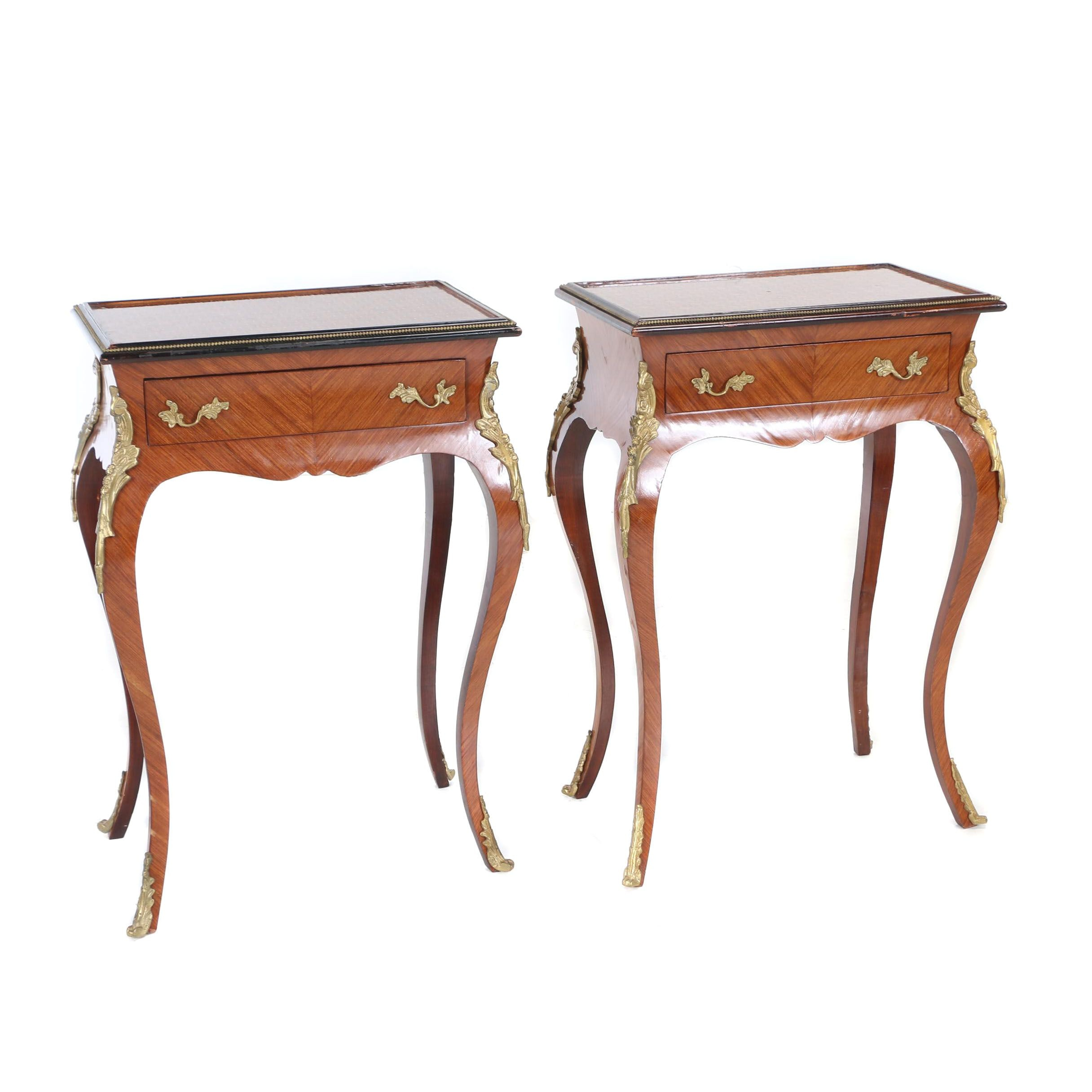 Pair of Louis XV Style Parquetry-Top & Gilt-Metal Side Tables, Late 20th Century