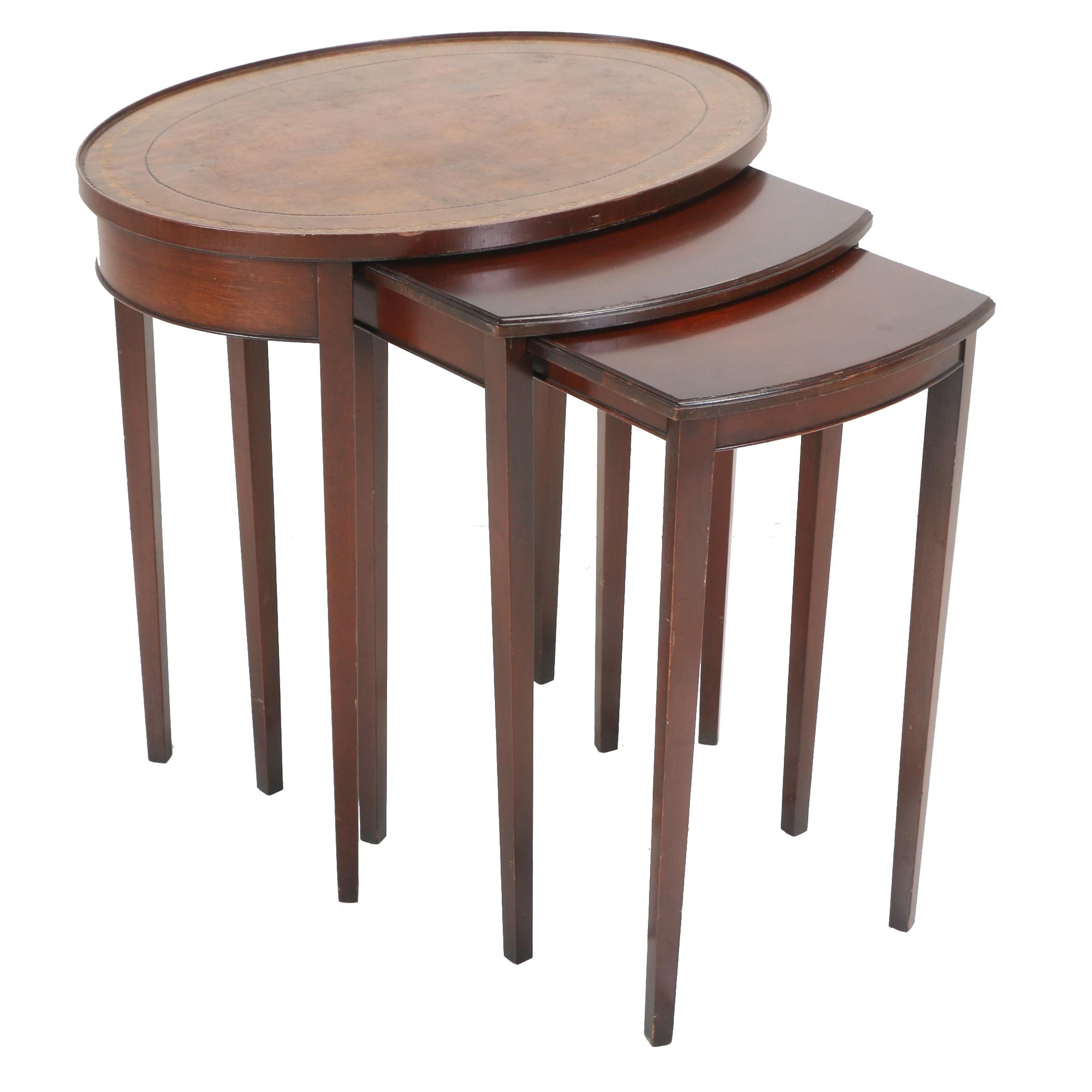 Three Federal Style Mahogany Graduated Side Tables by Imperial, Circa 1940