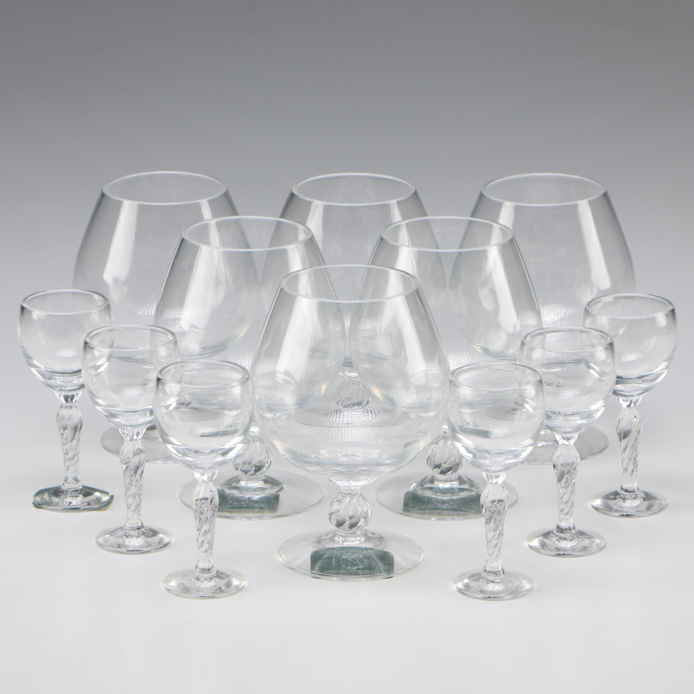 "Lenox Crystal ""Aria"" Brandy Snifters and Cordials, Late 20th/Early 21st Century"