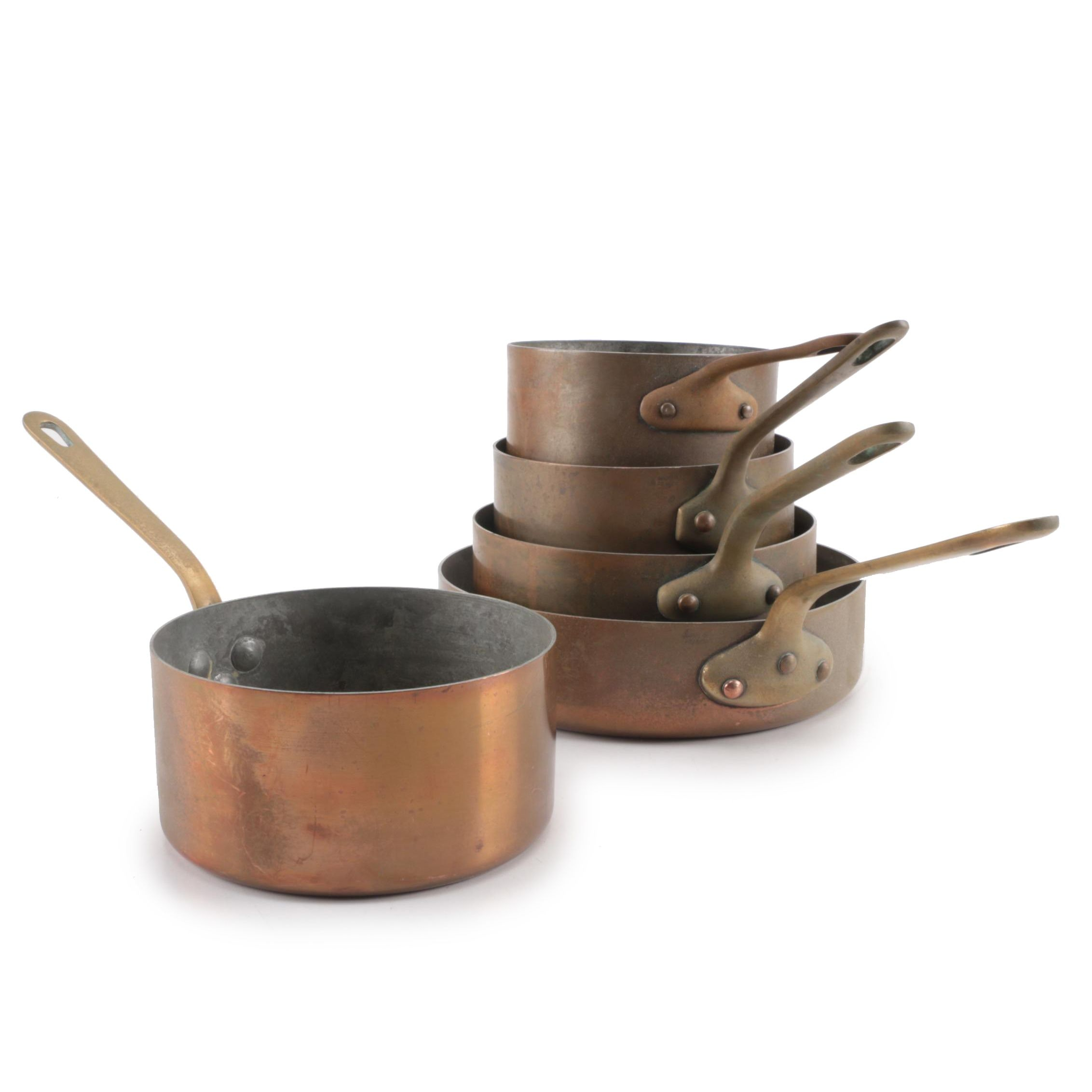 Copper Sauce Pans and High-Sided Pans, Vintage
