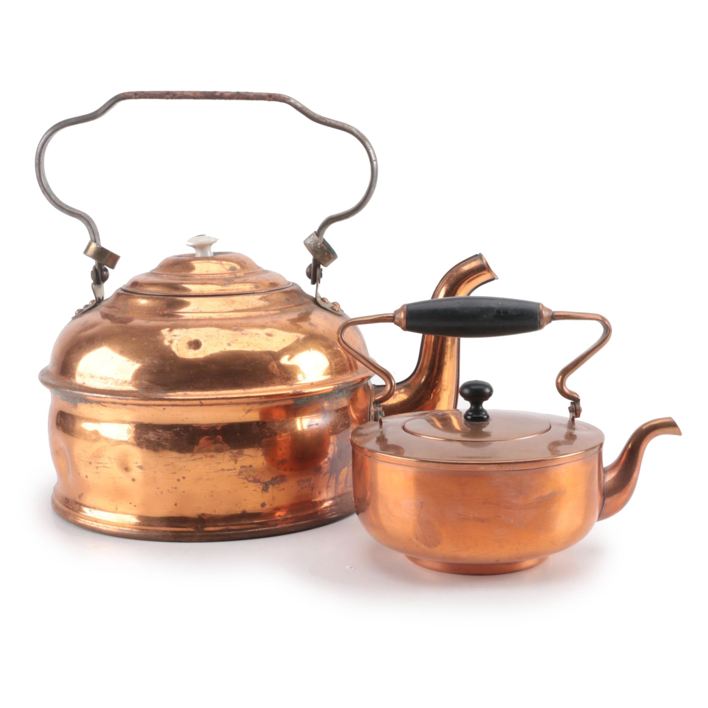 Large and Small Copper Kettles Including S. Sternau & Co.