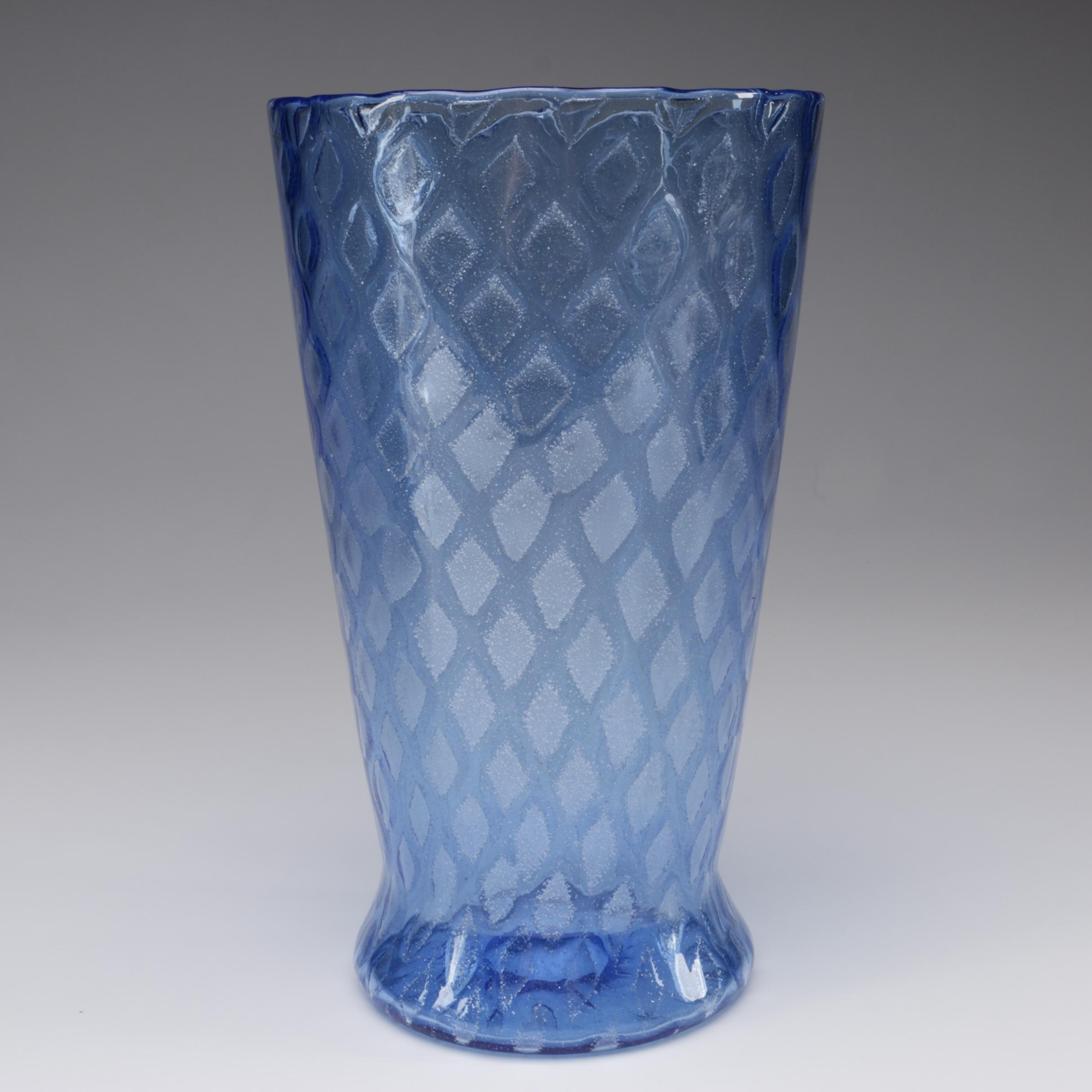"Steuben French Blue Art Glass ""Silverina"" Vase by Frederick Carder, 1903 - 1933"