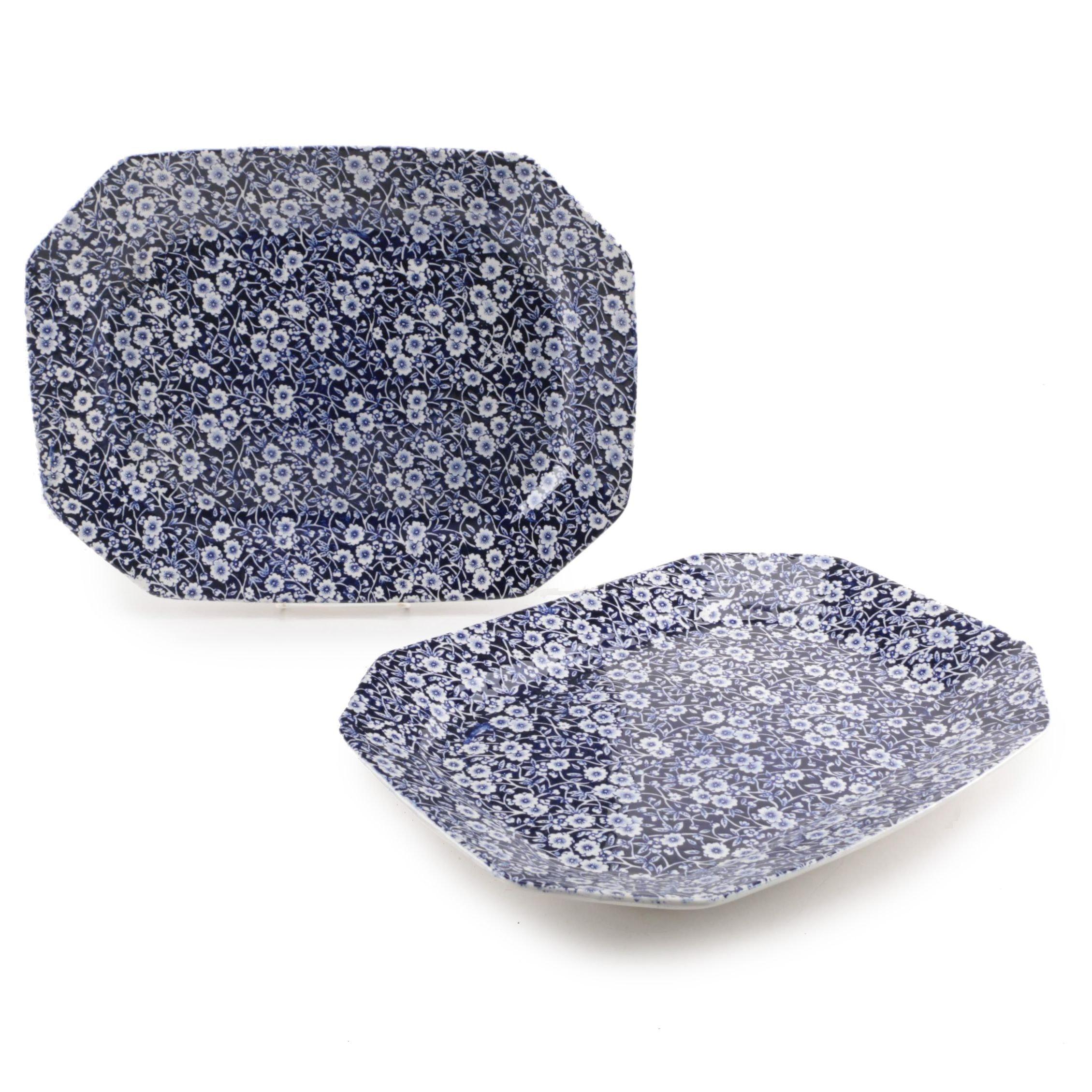 "Pair of Burleigh ""Calico"" Blue and White Transferware Platters"