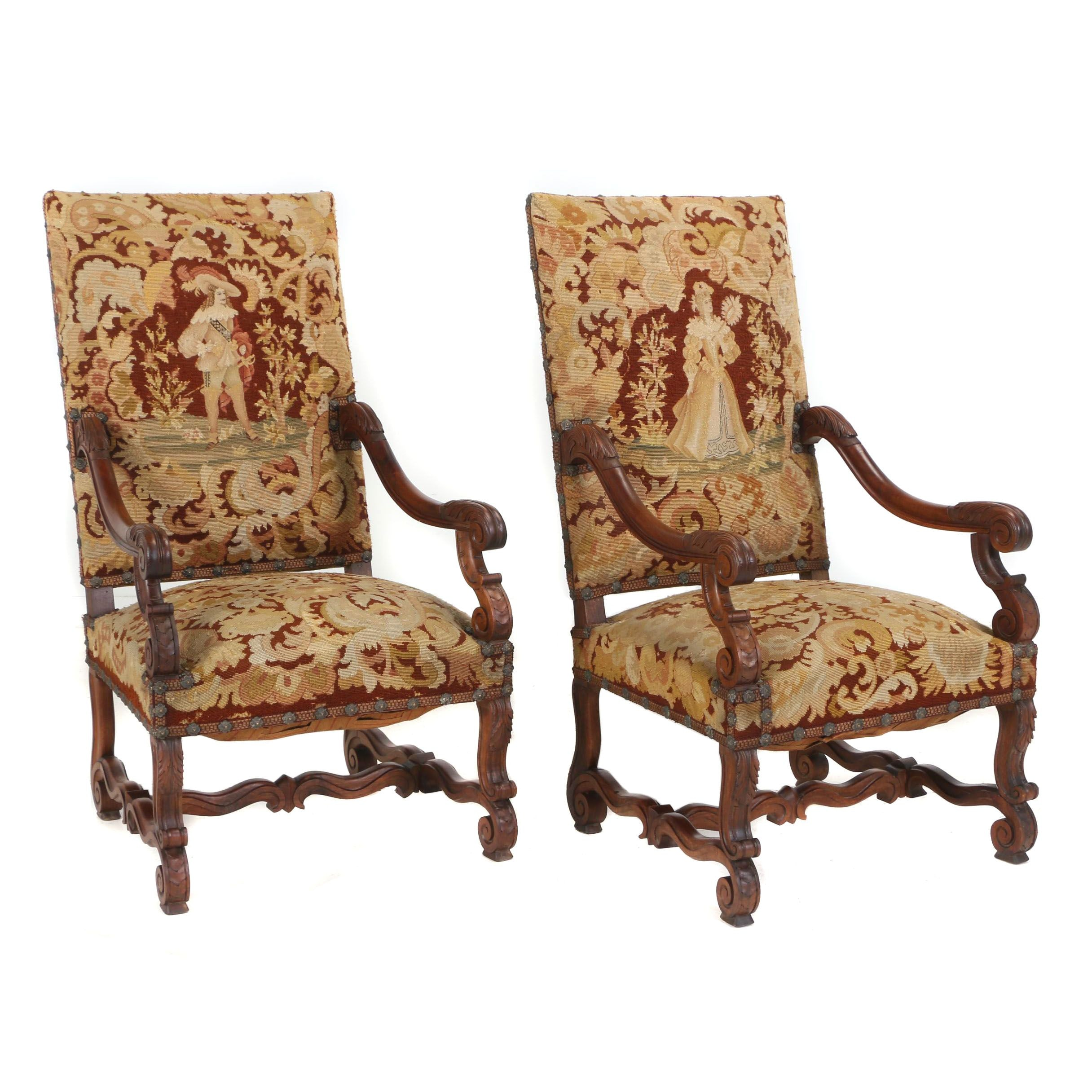 Pair of Baroque Style Carved Walnut Open Armchairs, Late 19th/Early 20th Century