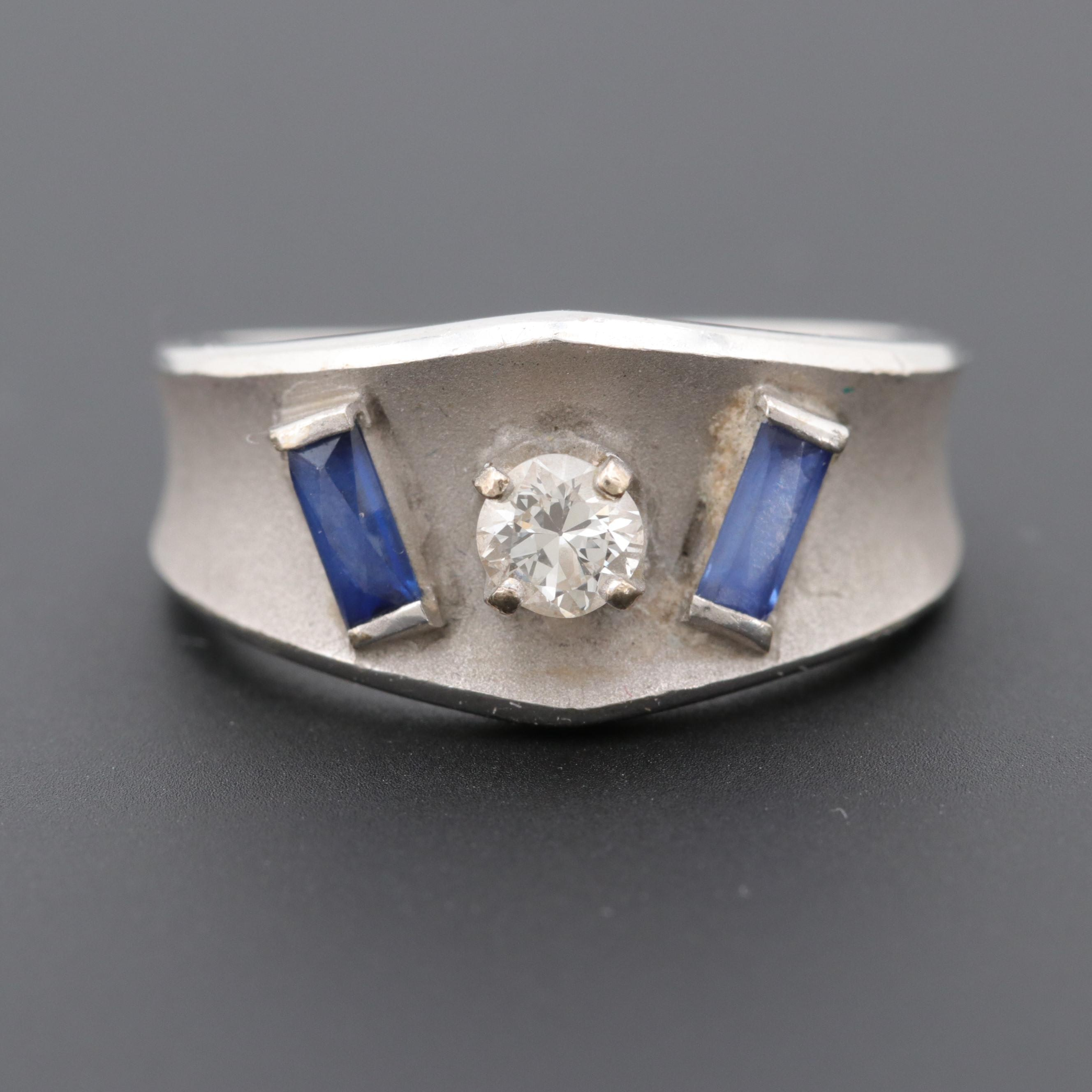 14K White Gold Diamond and Synthetic Blue Sapphire Ring with Matte Finish