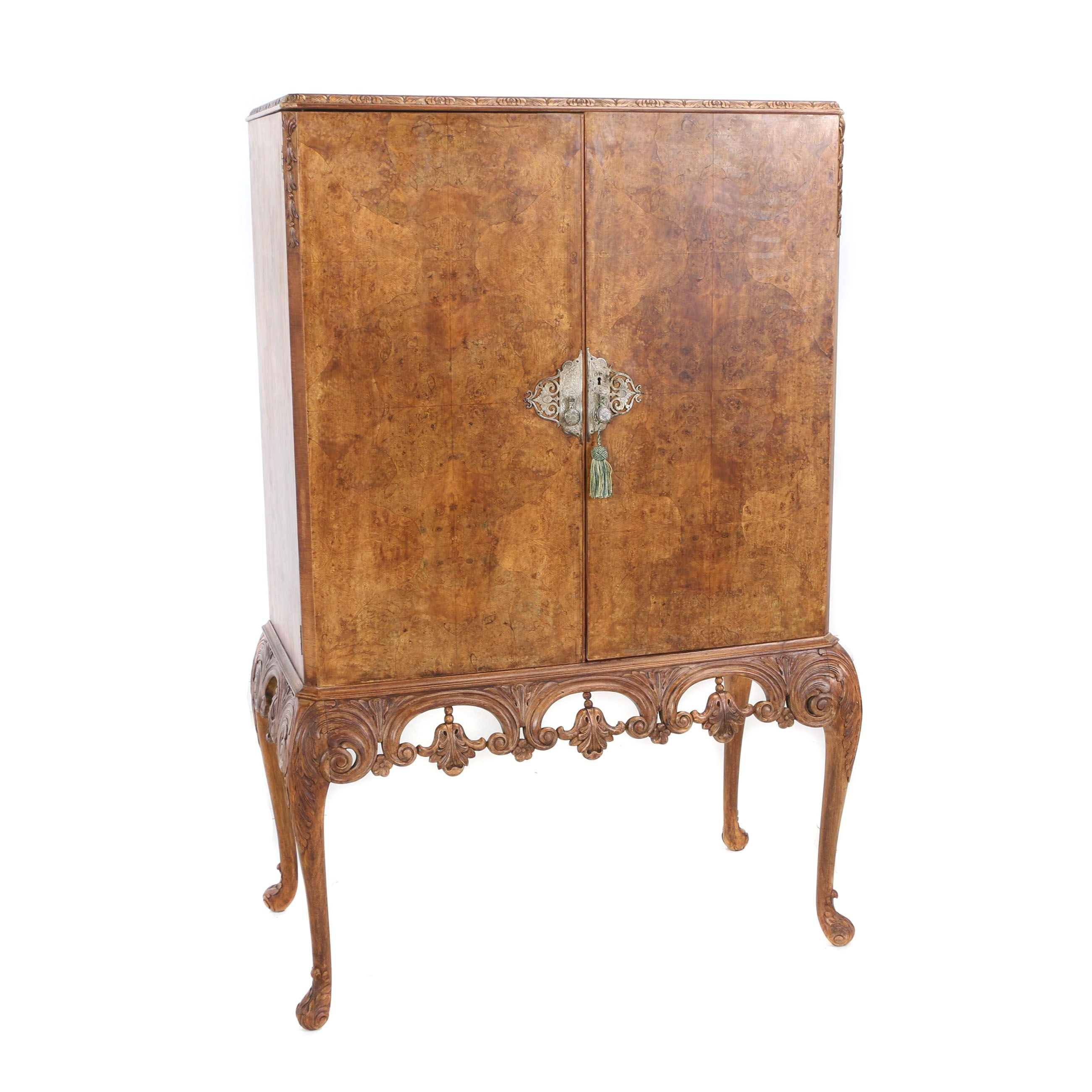 Baroque Style Burl Walnut Silver Cabinet-on-Stand, Late 20th Century