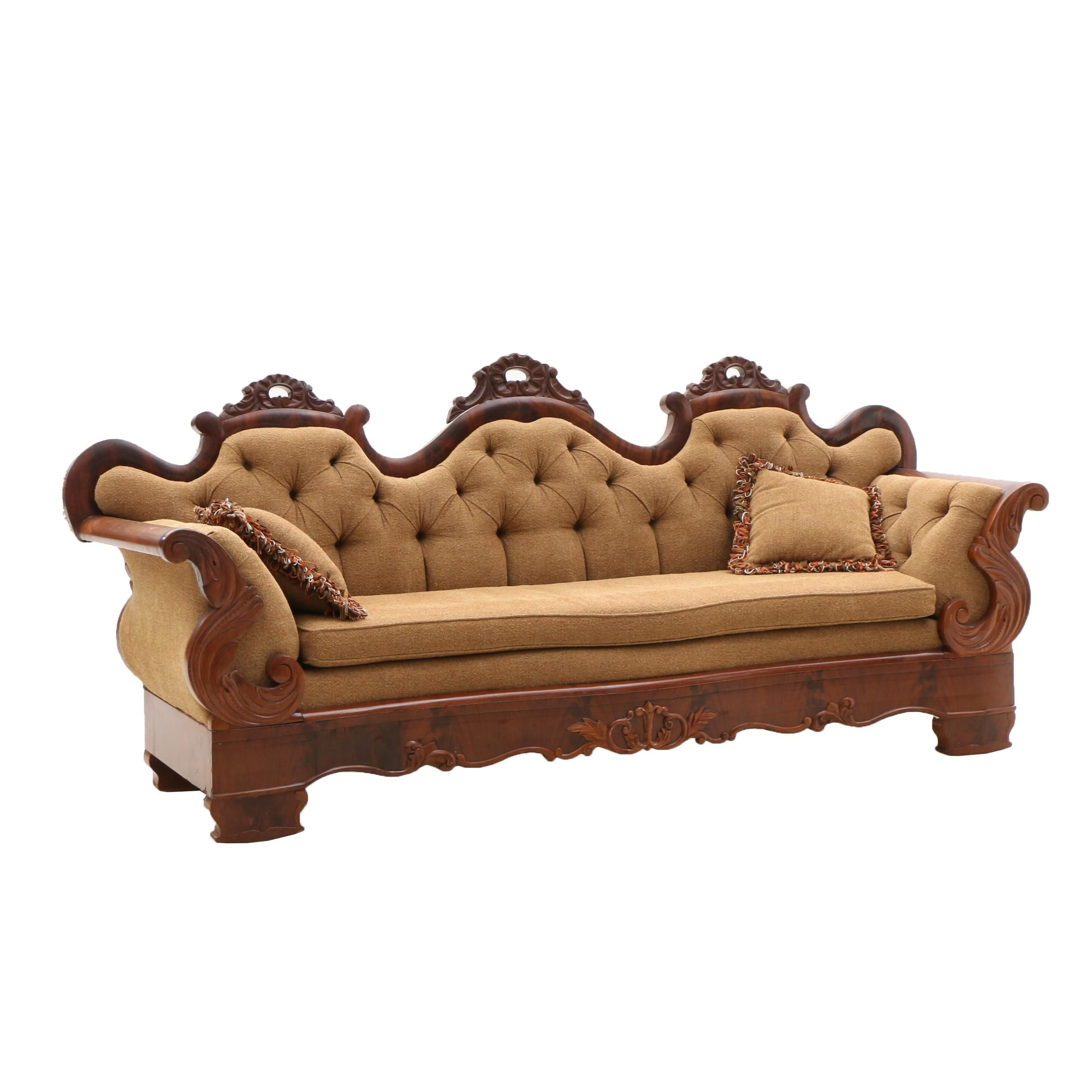 Early Victorian Mahogany Sofa Ca. 1850's