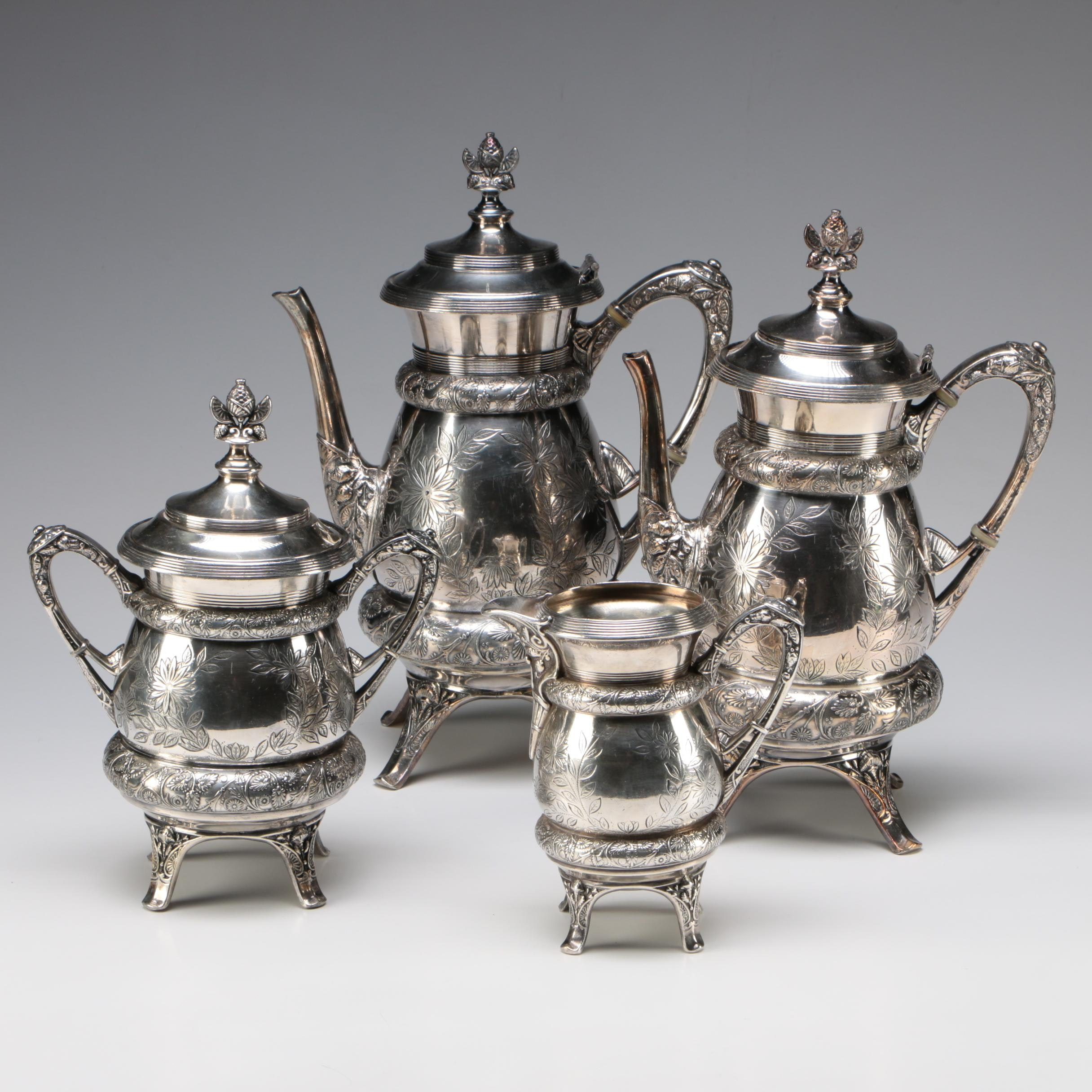 Acme Silver Company Chased Silver Plate Tea Service, 1884-1893