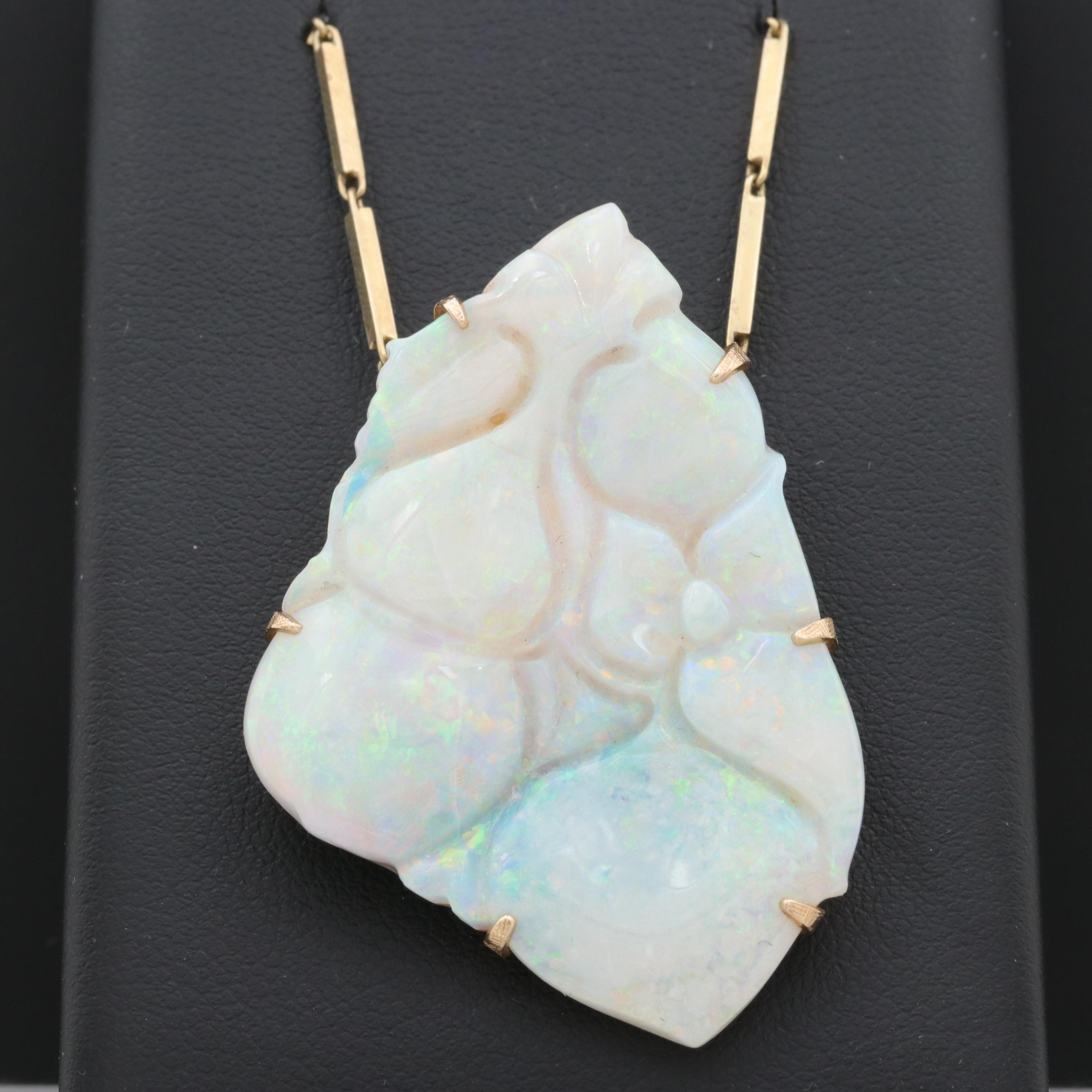 14K Yellow Gold Freeform Carved Opal Cabochon Pendant Necklace