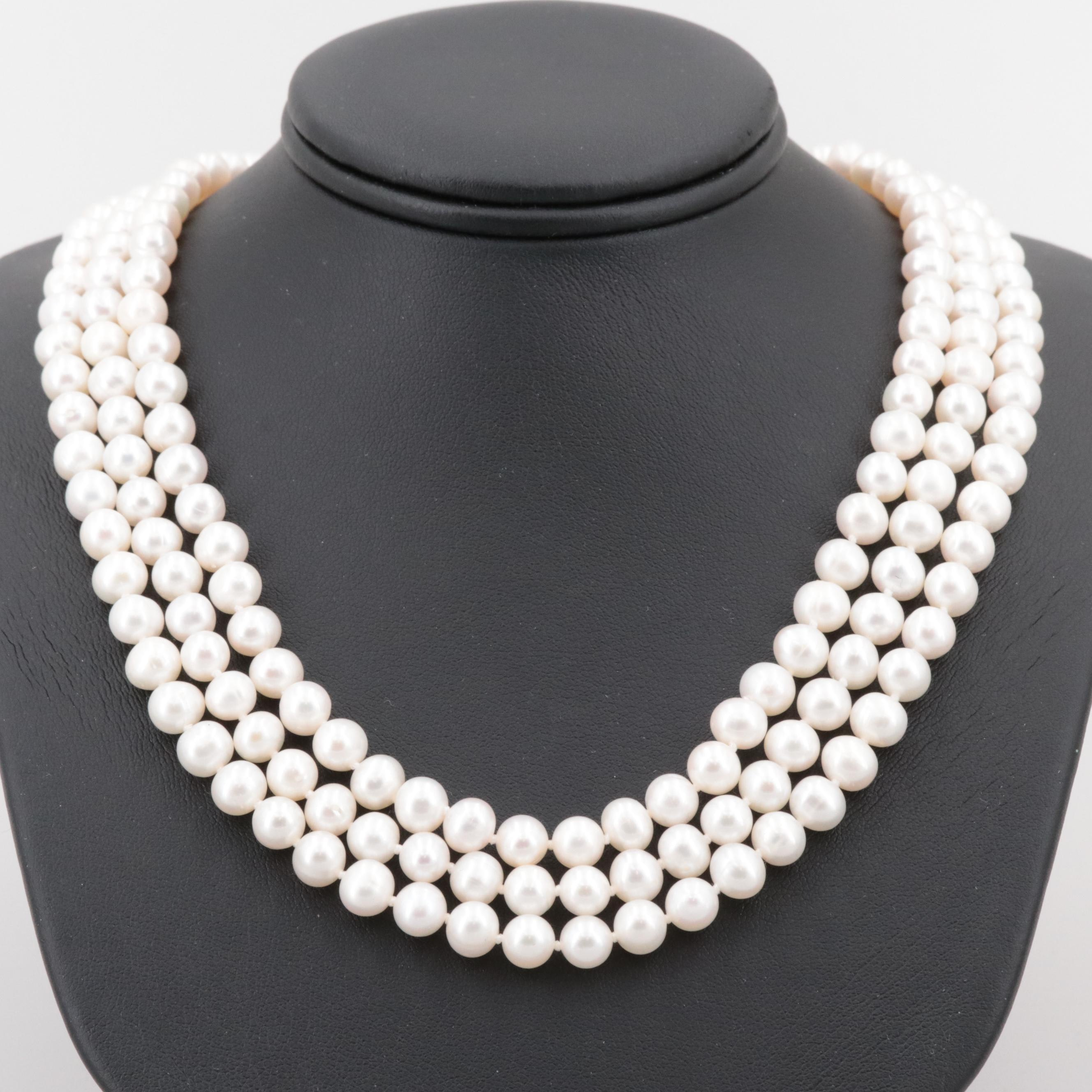 14K Yellow Gold Cultured Pearl Hand Knotted Triple Strand Necklace