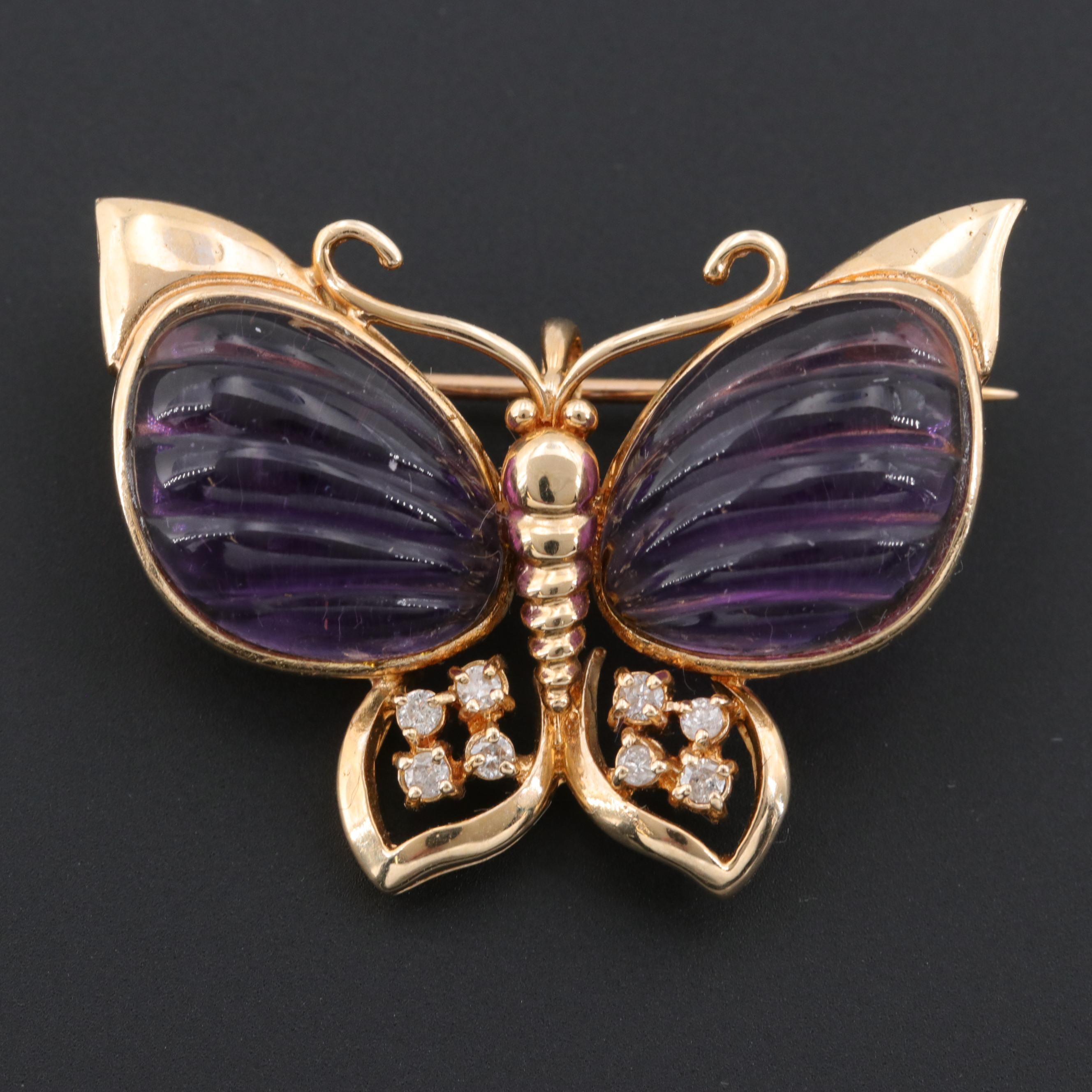 14K Yellow Gold Amethyst and Diamond Butterfly Brooch