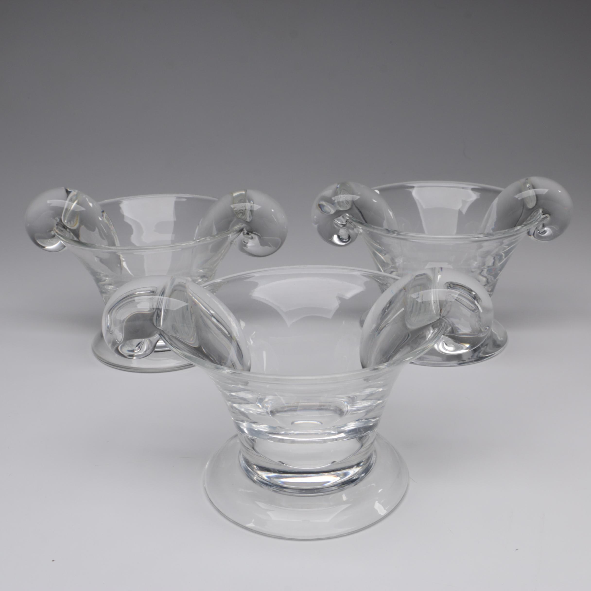 Steuben Art Glass Original Design Olive Dishes with Scroll Handles, Circa 1937