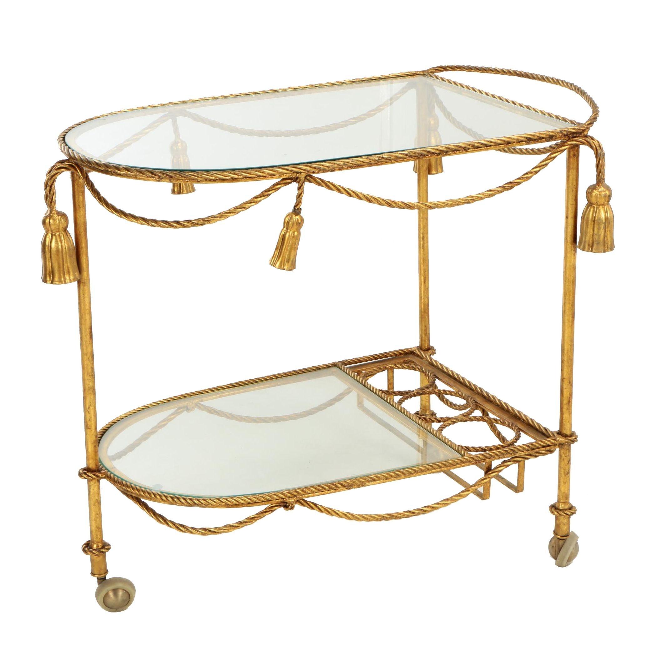 Gilt-Metal and Glass Tea Cart, Late 20th Century