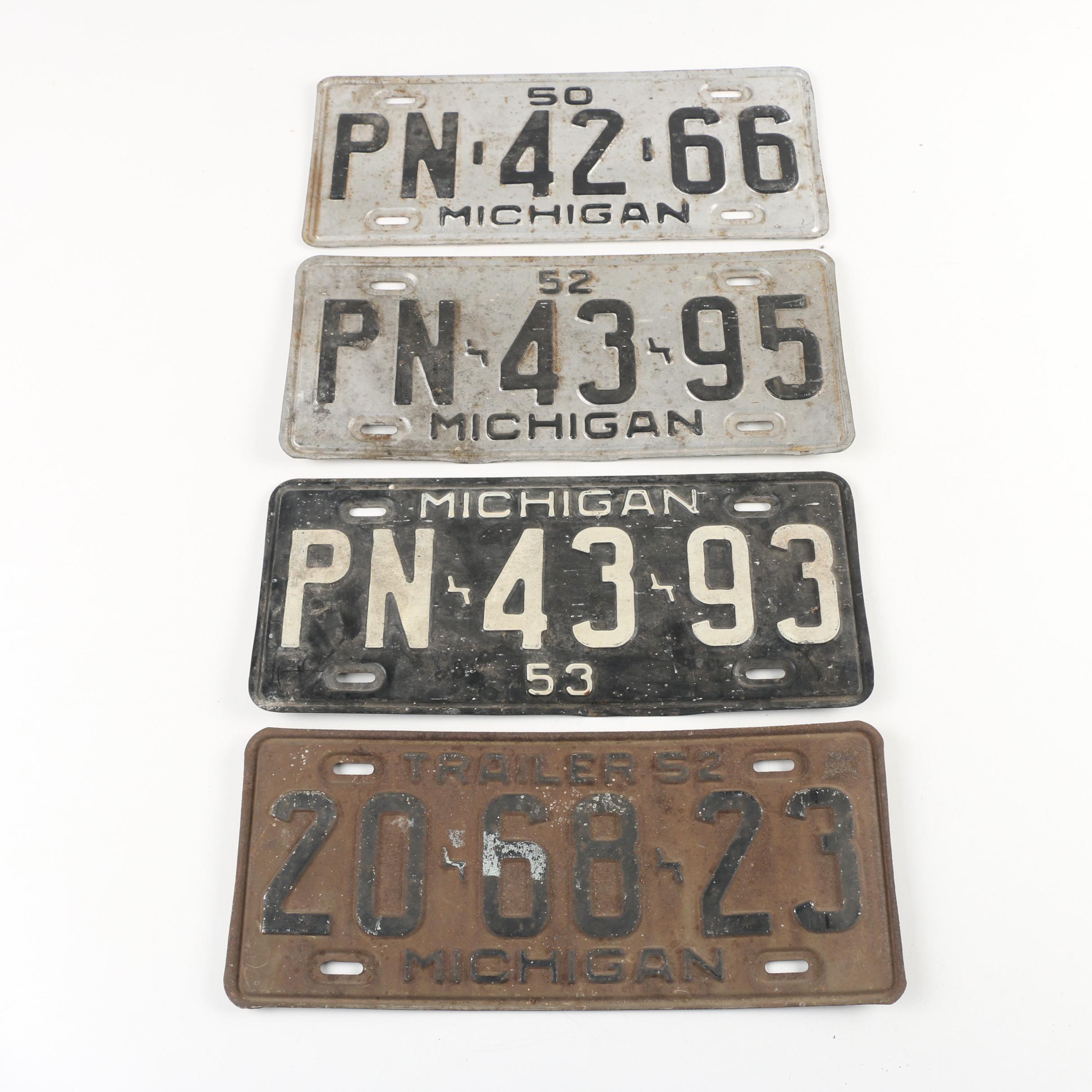 Michigan License Plates, 1950, 1952, and 1953