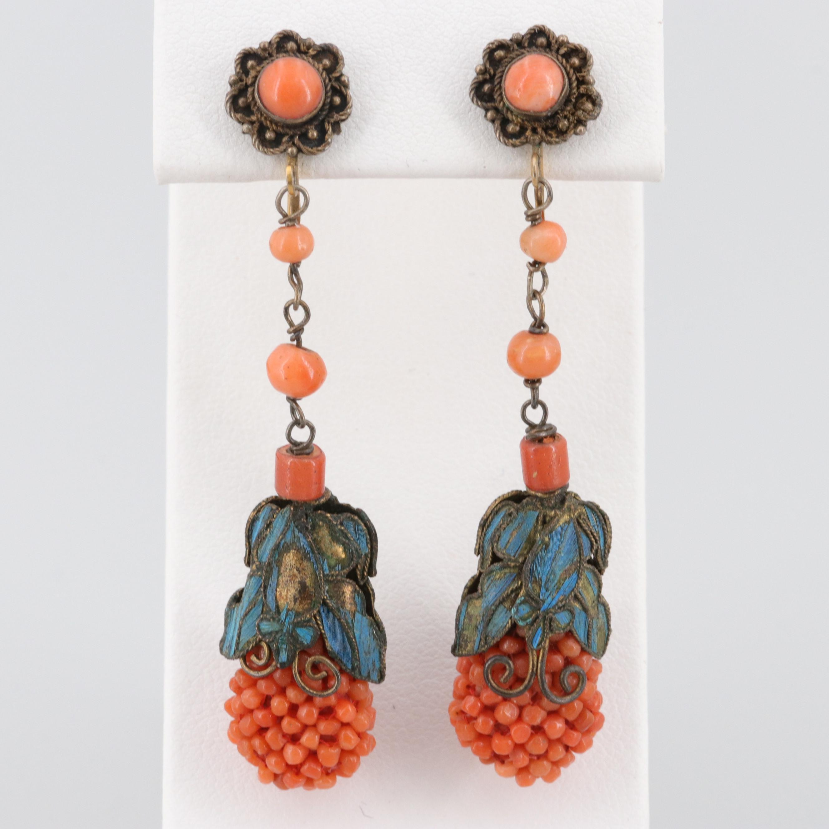 Antique Chinese Tian-Tsui Kingfisher Feather Coral Earrings with Gilt Wash