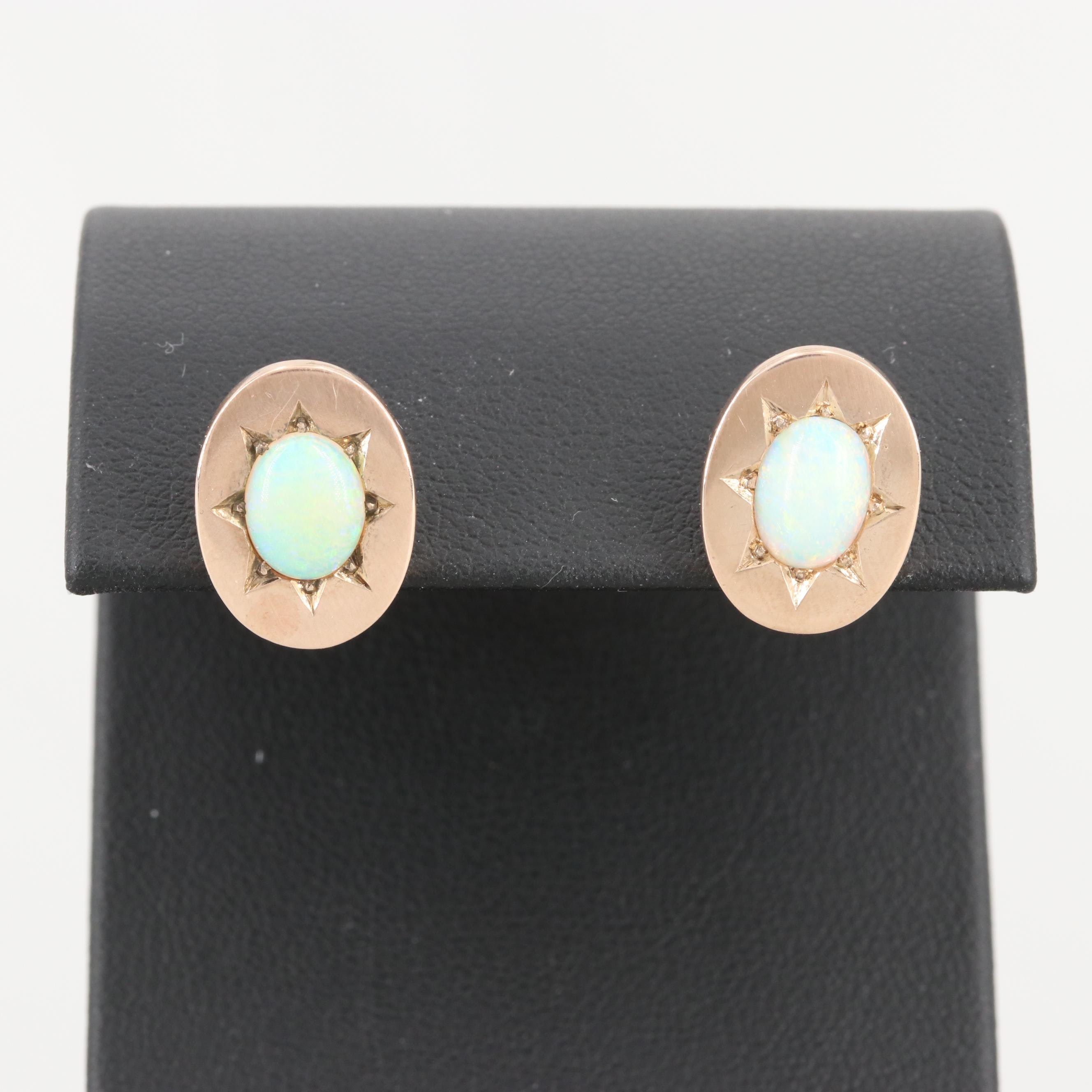 Antique 9K and 14K Yellow Gold Opal Earrings