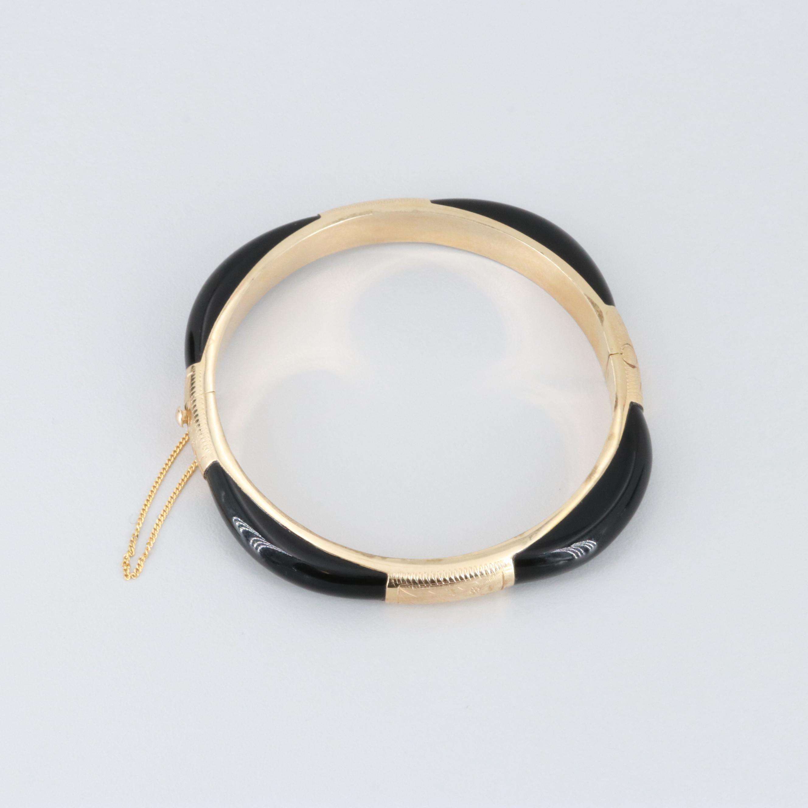 14K Yellow Gold Black Onyx Hinged Bangle Bracelet