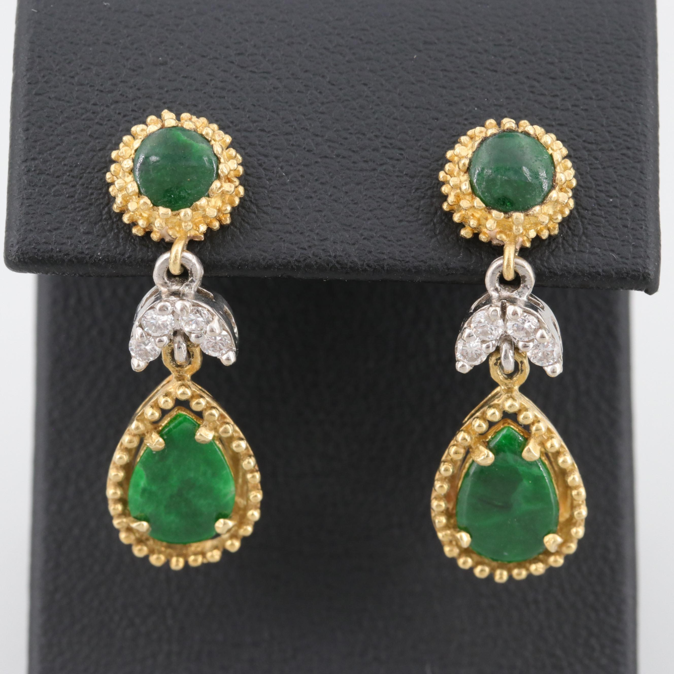 La Triomphe 18K Yellow Gold Jadeite and Diamond Earrings