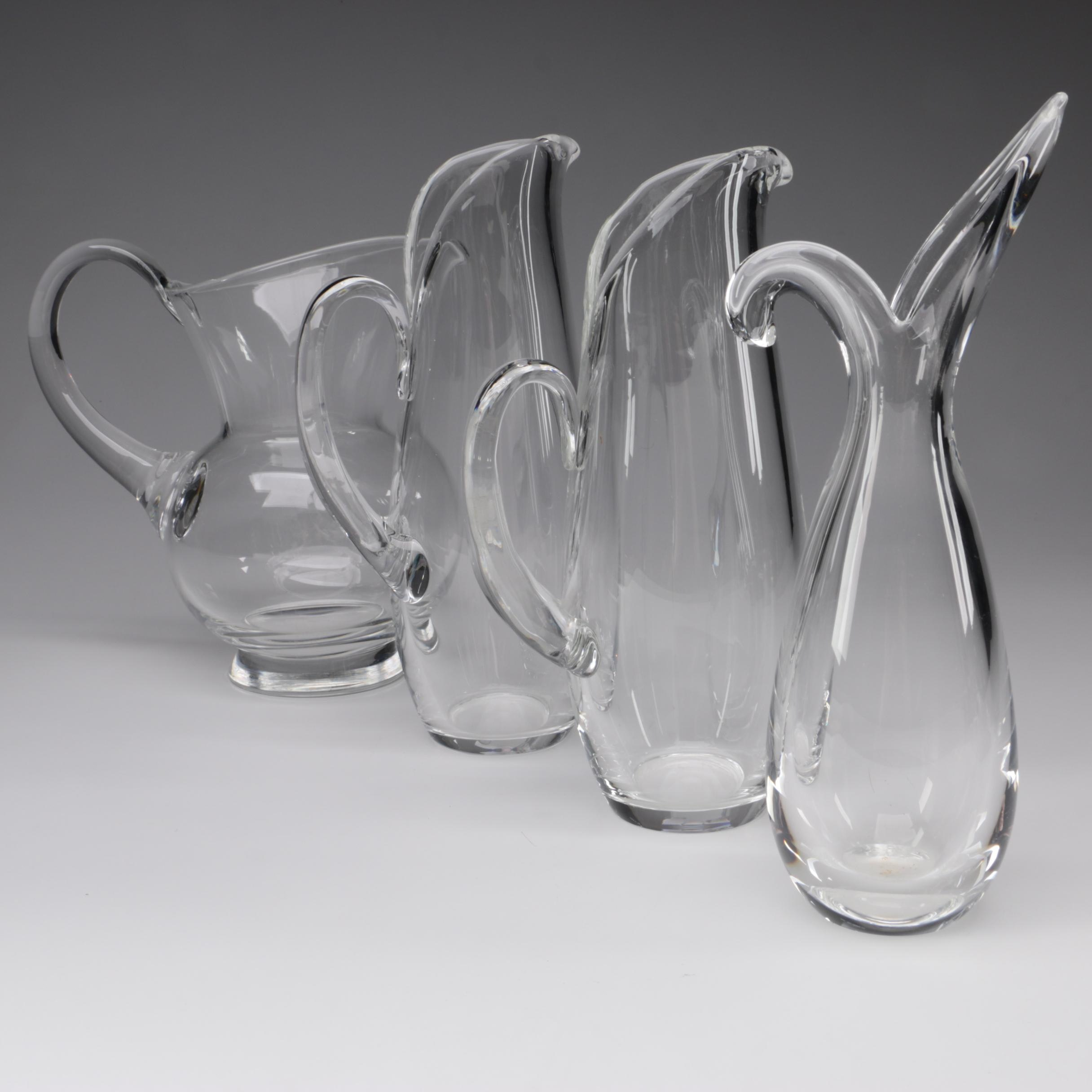 "Steuben Art Glass Pitchers and ""Sheared Rim Heritage Rein"" Vase, Mid-Century"