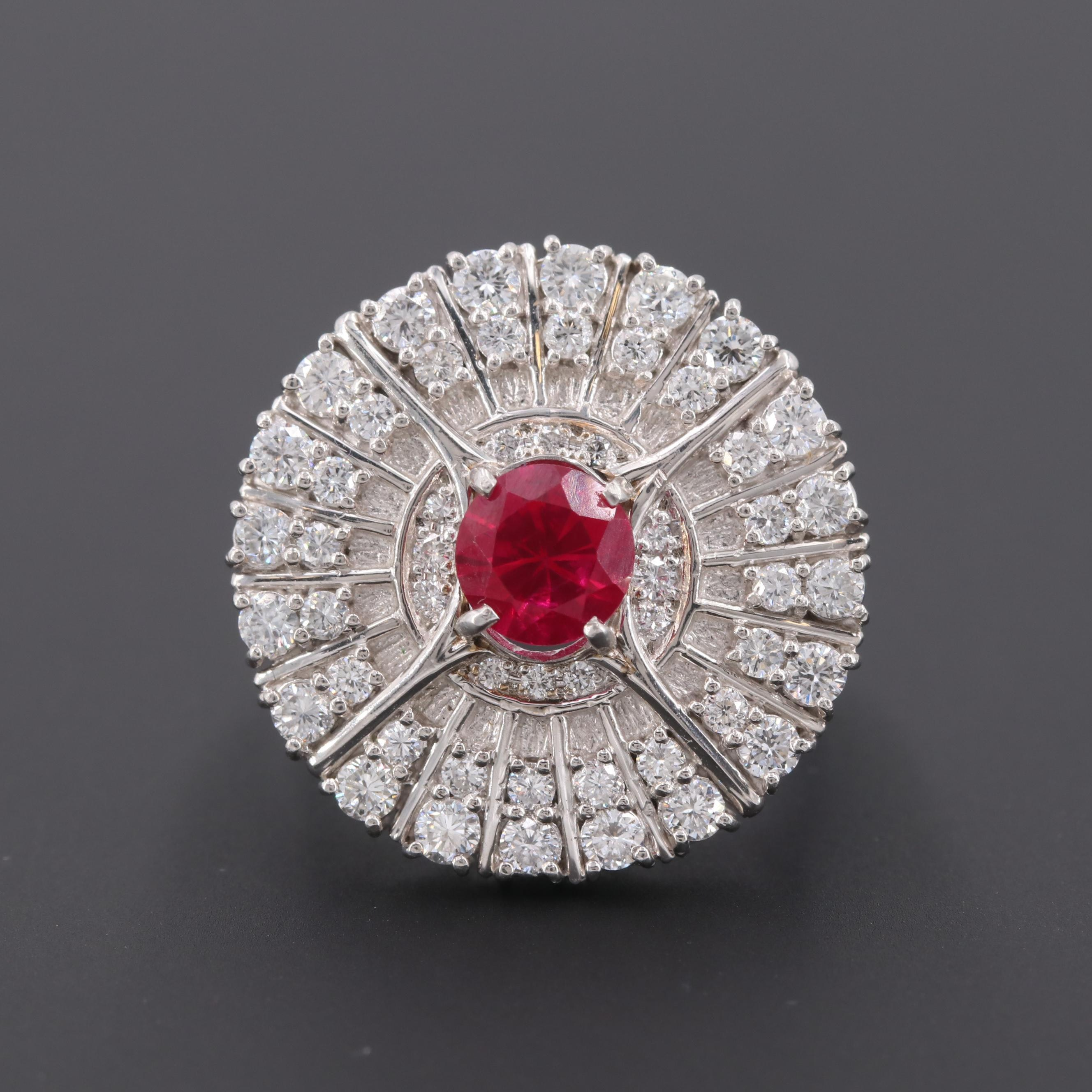Platinum Synthetic Ruby and 1.45 CTW Diamond Ring